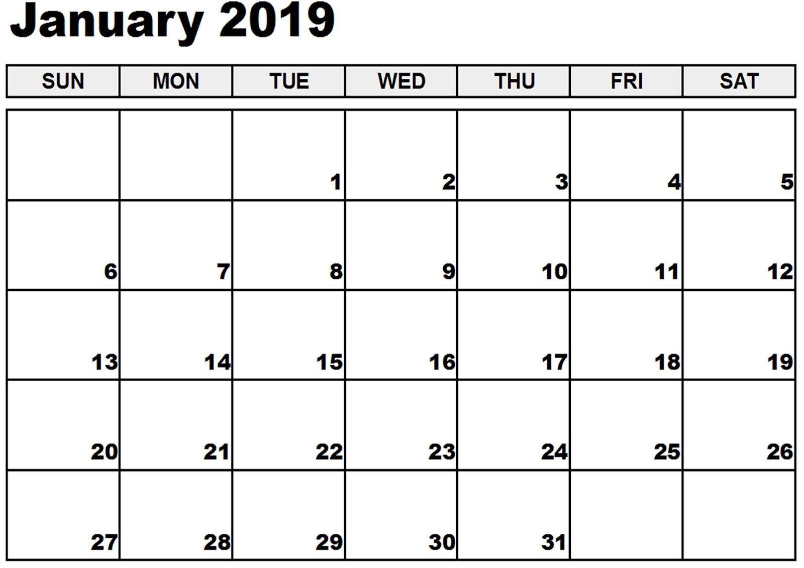 January Calendar 2019 Word #january2019 #january within November Calendar Templates Editable