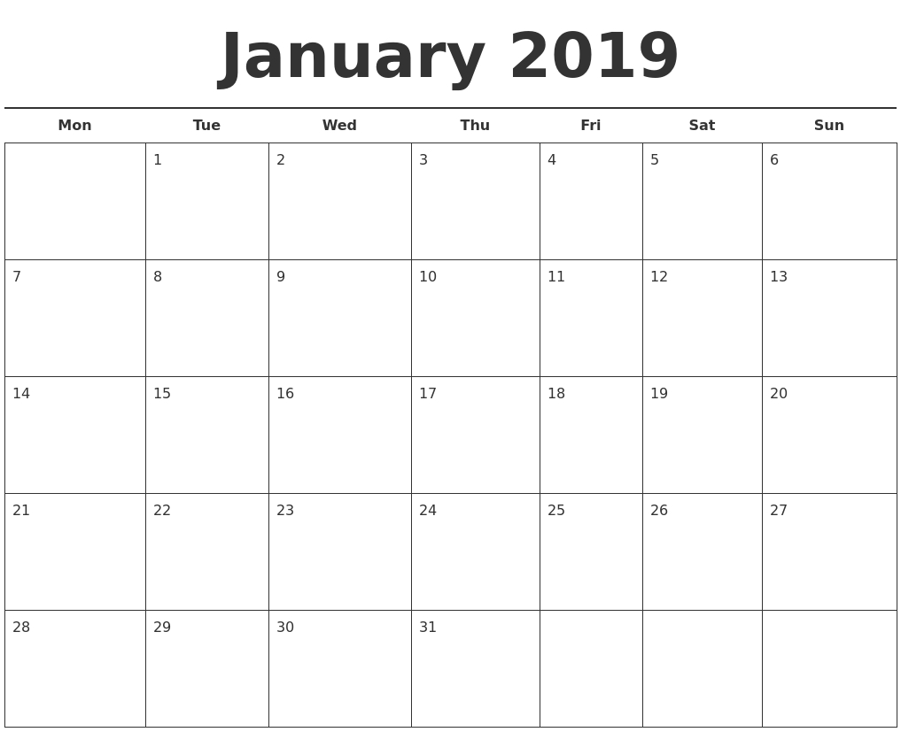 January Month Calendar 2019 Printable Template - Printable Calendar inside Template Of A Blank Calendar Of A Month