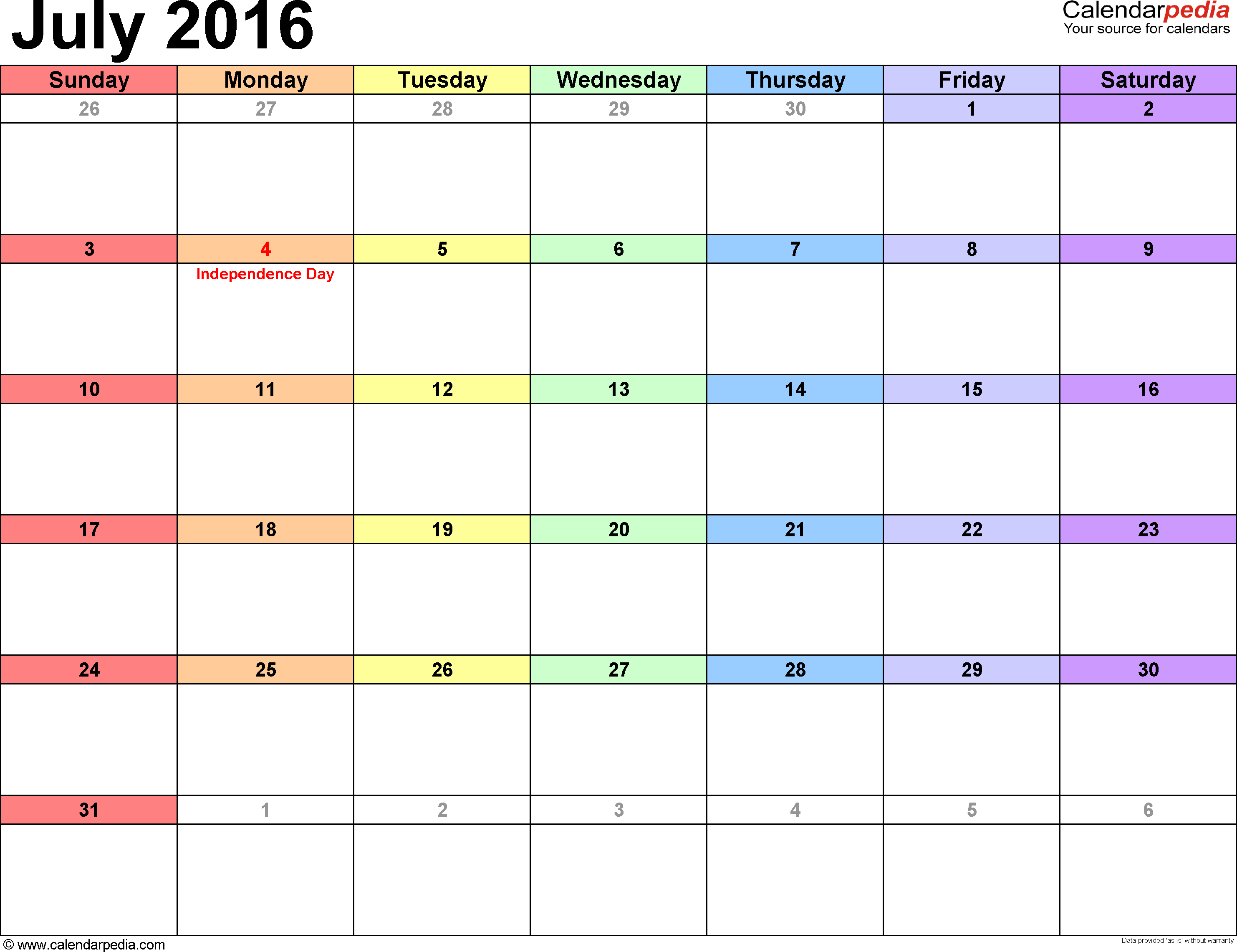 July 2016 Calendars For Word, Excel & Pdf pertaining to Printable Weekly Calendar Template July