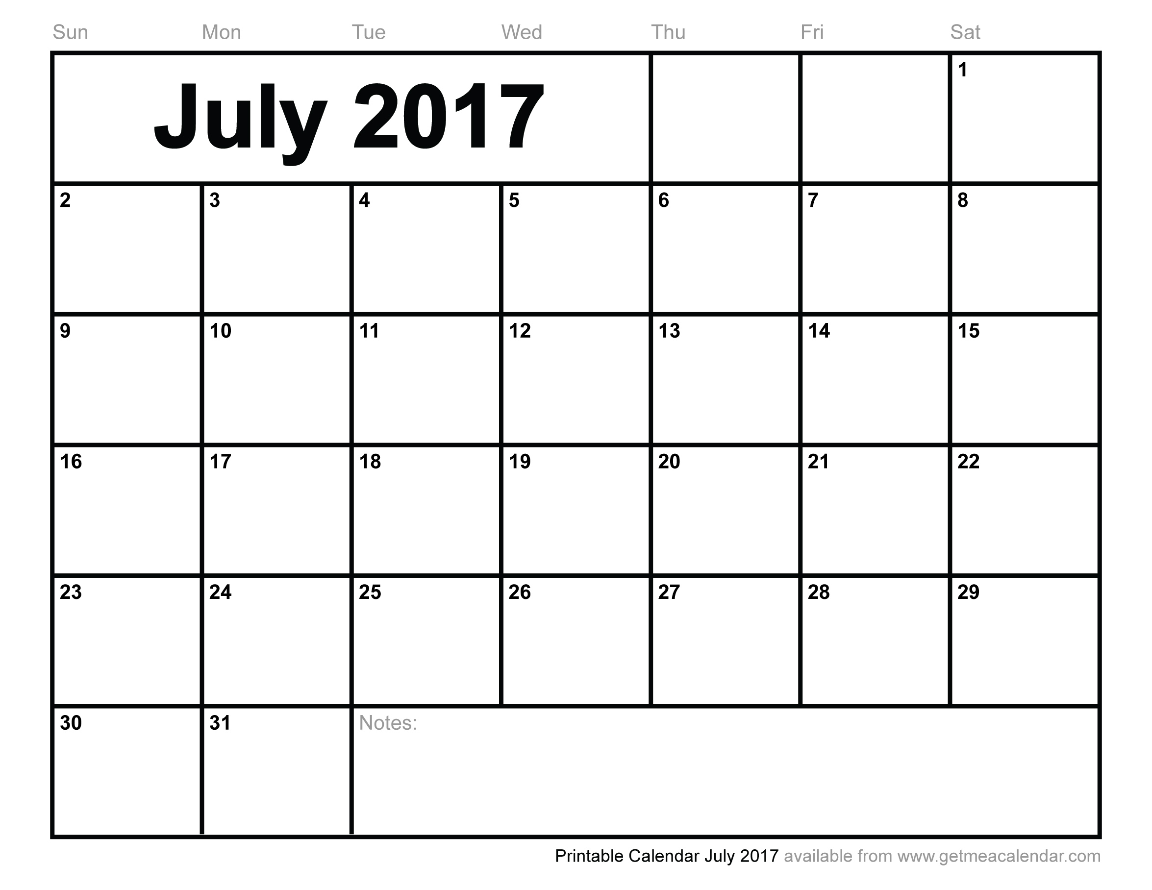 July 2017 Calendar Printable – Templates Free Printable for Cute Blank Calendar Page Template