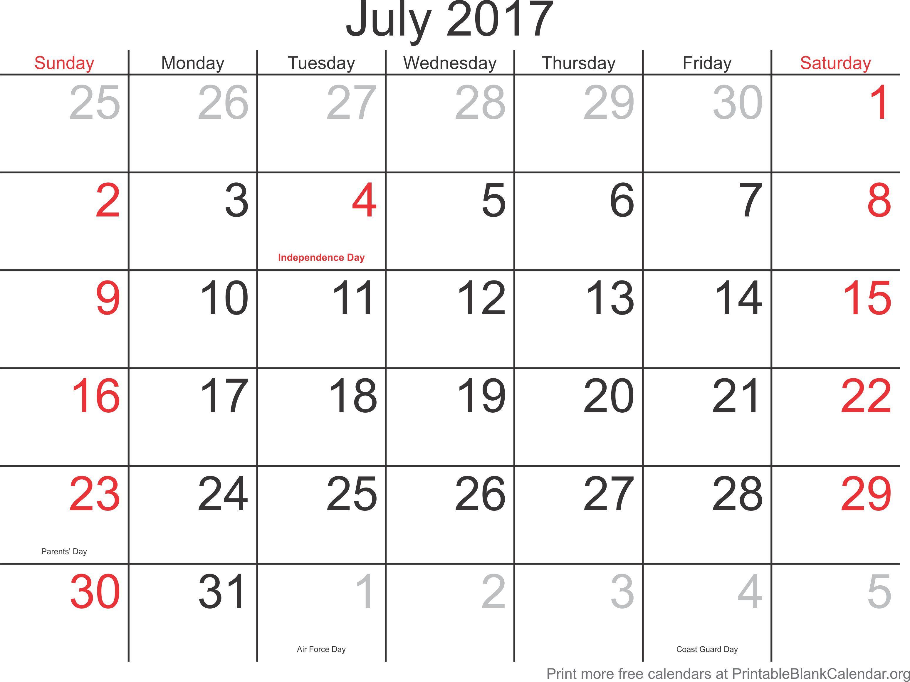 July 2017 Free Printable Blank Calendar - Printable Blank Calendar pertaining to Printable Blank 31 Day Calendar