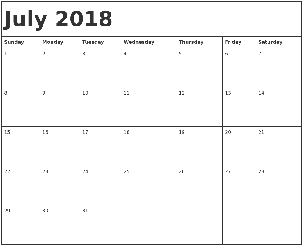 July 2018 Calendar Pdf within Printable July Employee Template