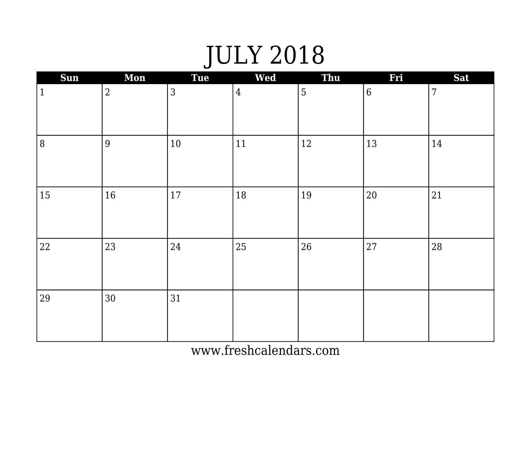 July 2018 Calendar Printable - Fresh Calendars in Blank July Monthly Calendar