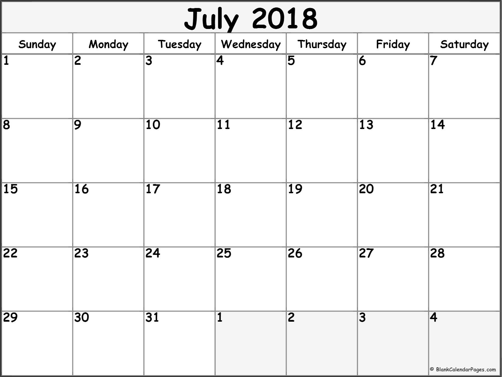 July 2018 Calendar Printable – Monthly Template Download - July 2019 with Blank July Monthly Calendar