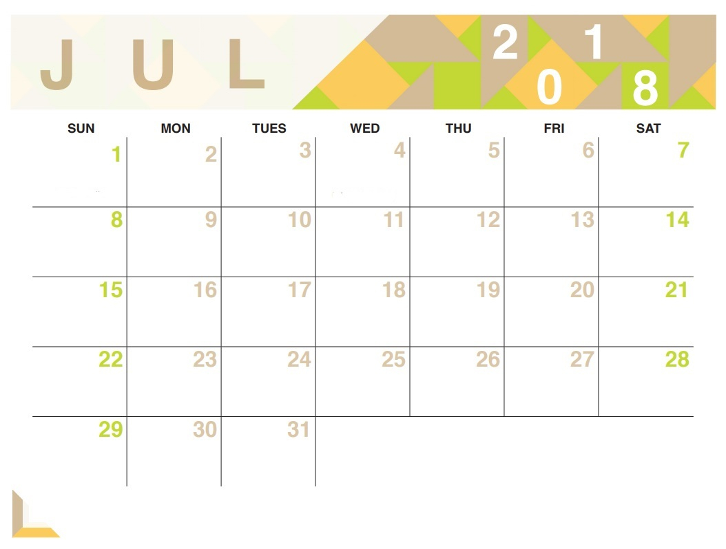 July 2018 Calendar Printable Pdf Free Template in Cute July Calendar Template