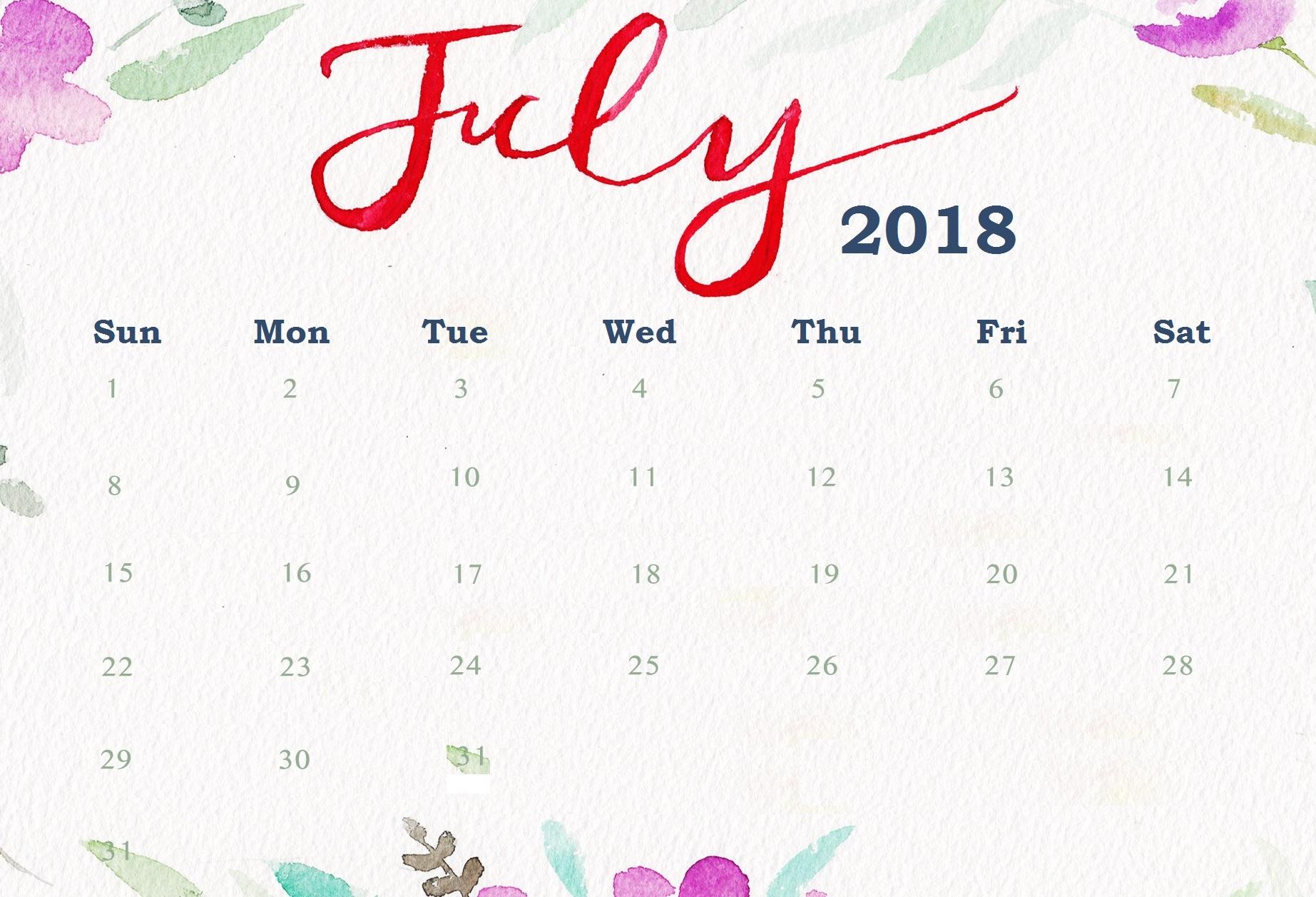 July 2018 Calendar Printable | Printable 2019 Calendar Templates Pdf pertaining to Cute Calendar Templates July