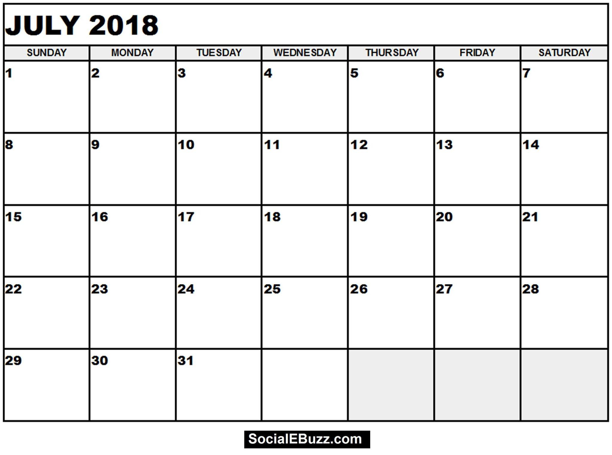 July 2018 Calendar Template Word, Pdf, Excel Format - Free June 2019 within Blank July Calendar Printable
