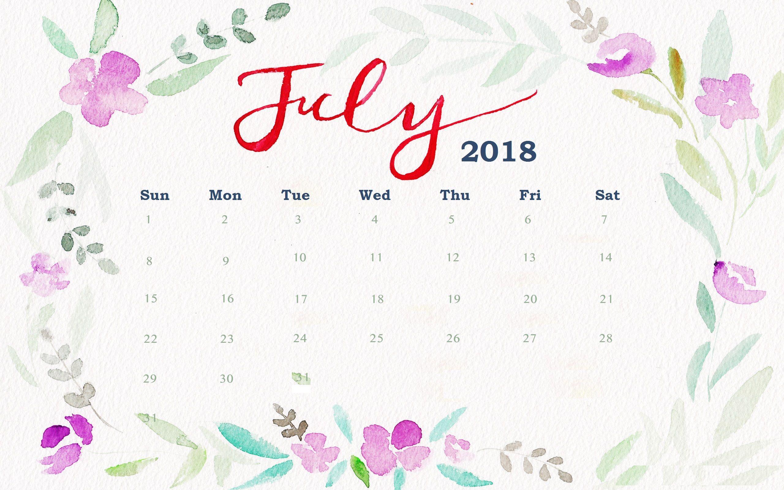 July 2018 Floral Desktop Calendar   Maxcalendars In 2019   Desktop in July Calendar Template Flowers