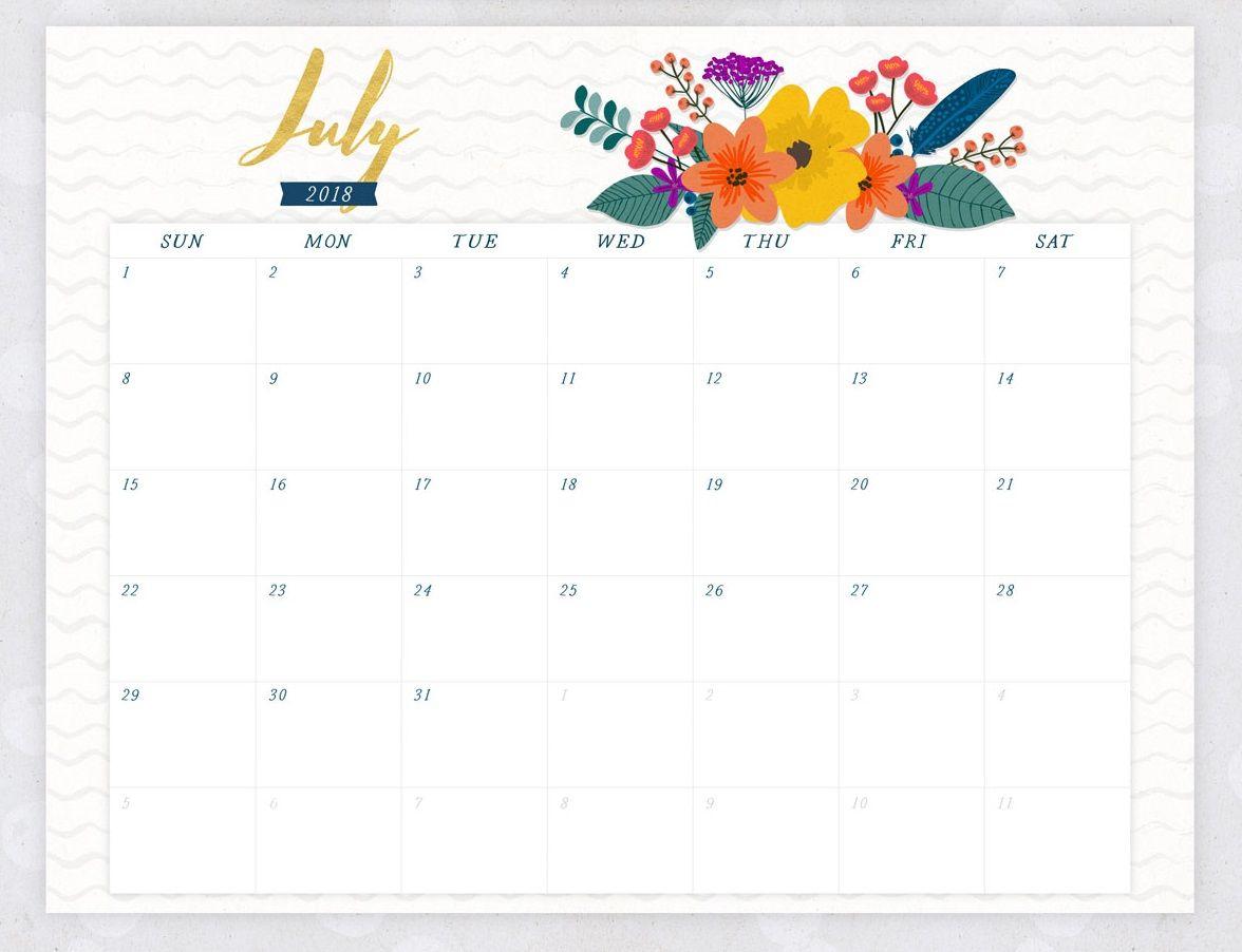July 2018 Flower Calendar   2018 Calendars   2018 Desk Calendar throughout July Calendar Template Flowers