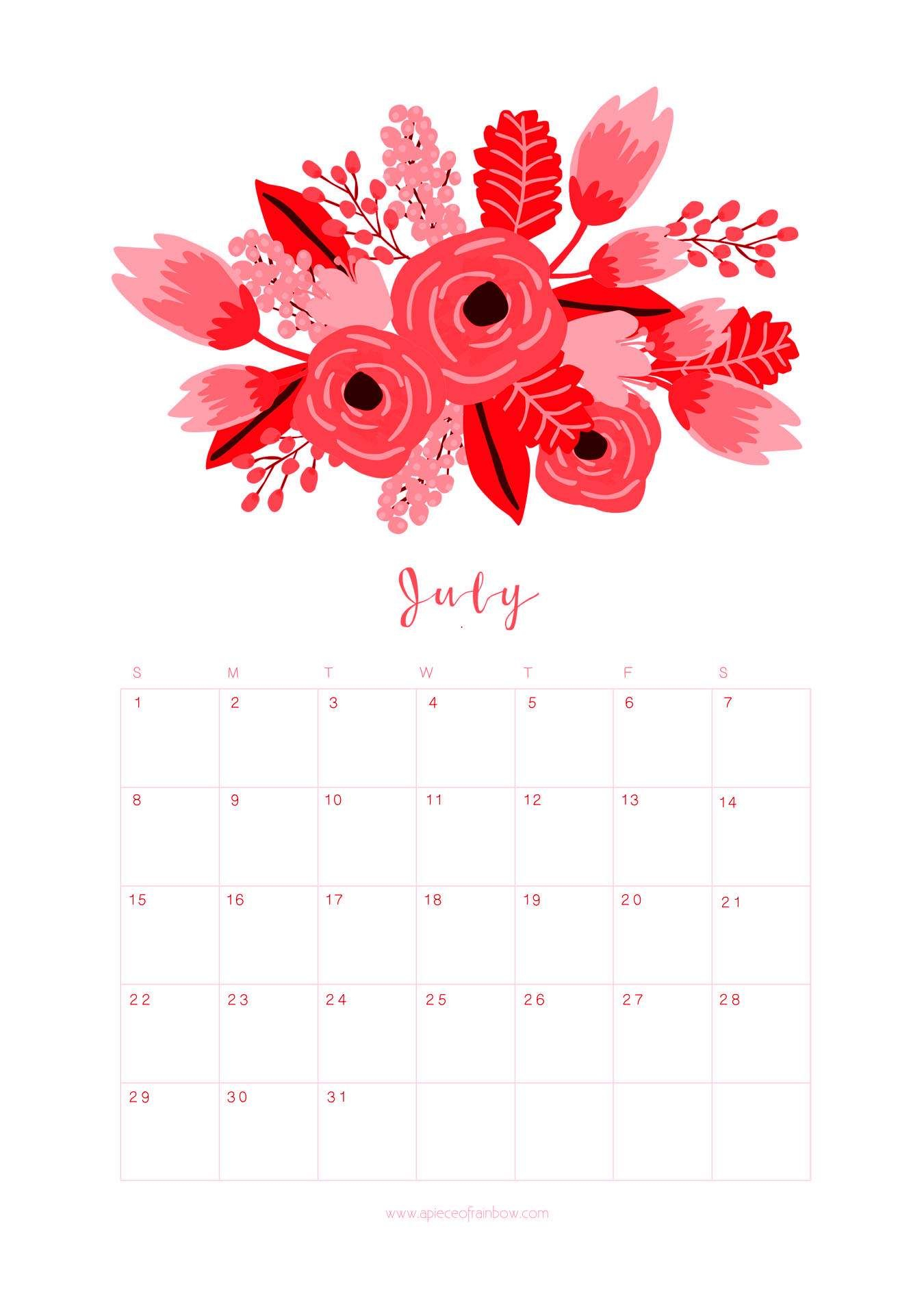 July 2018 Flower Calendar Printable   2018 Calendars   July Calendar regarding July Calendar Template Flowers
