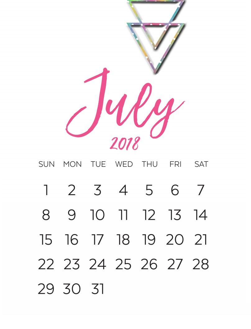 July 2018 Printable Calendar Templates Holidays with regard to Cute Calendar Templates July