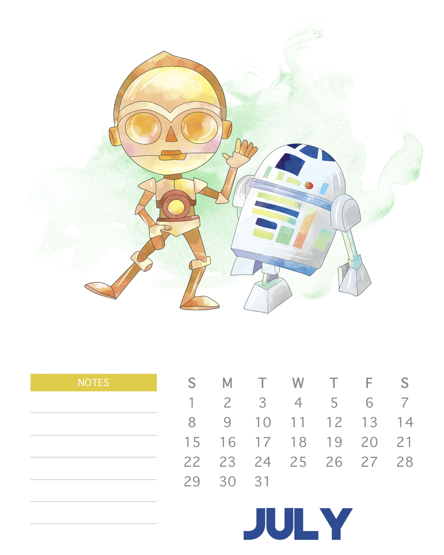 July 2018 Star Wars Calendar Template | Monthly Wallpaper Calendars in Star Wars Templates Printables Calendar