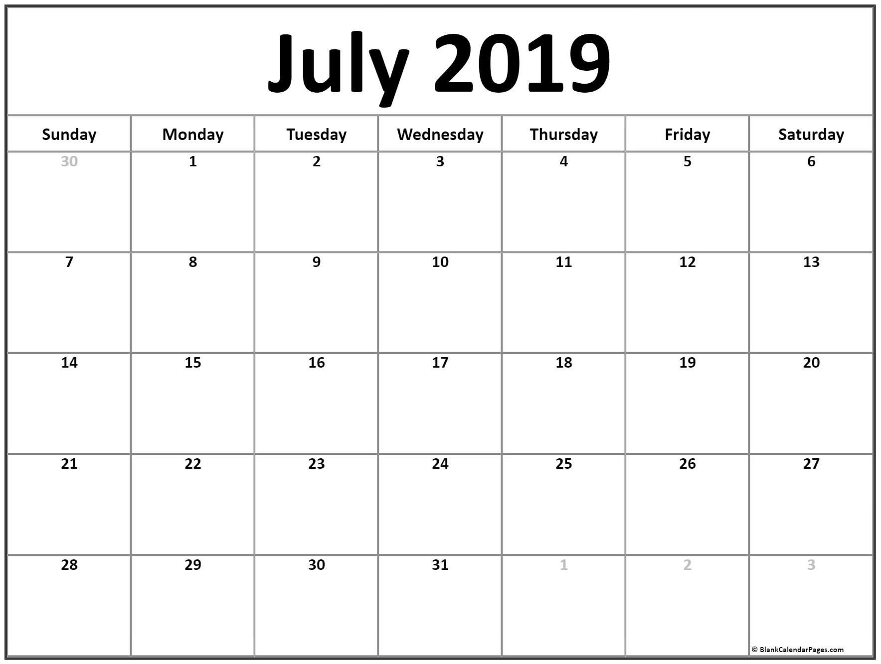 July 2019 Blank Calendar Template | 2019 July Calendar Planner intended for Printable Yearly Calendar July 2019 - June 2020