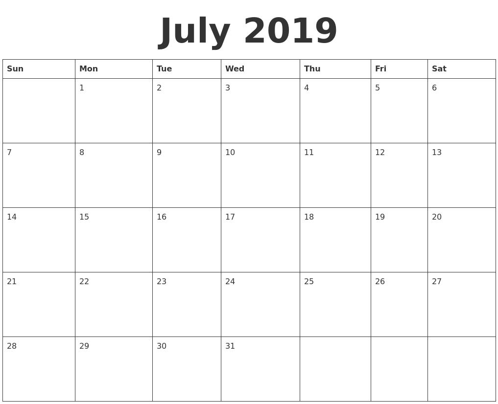 July 2019 Blank Calendar Template for Blank July Calendar Printable