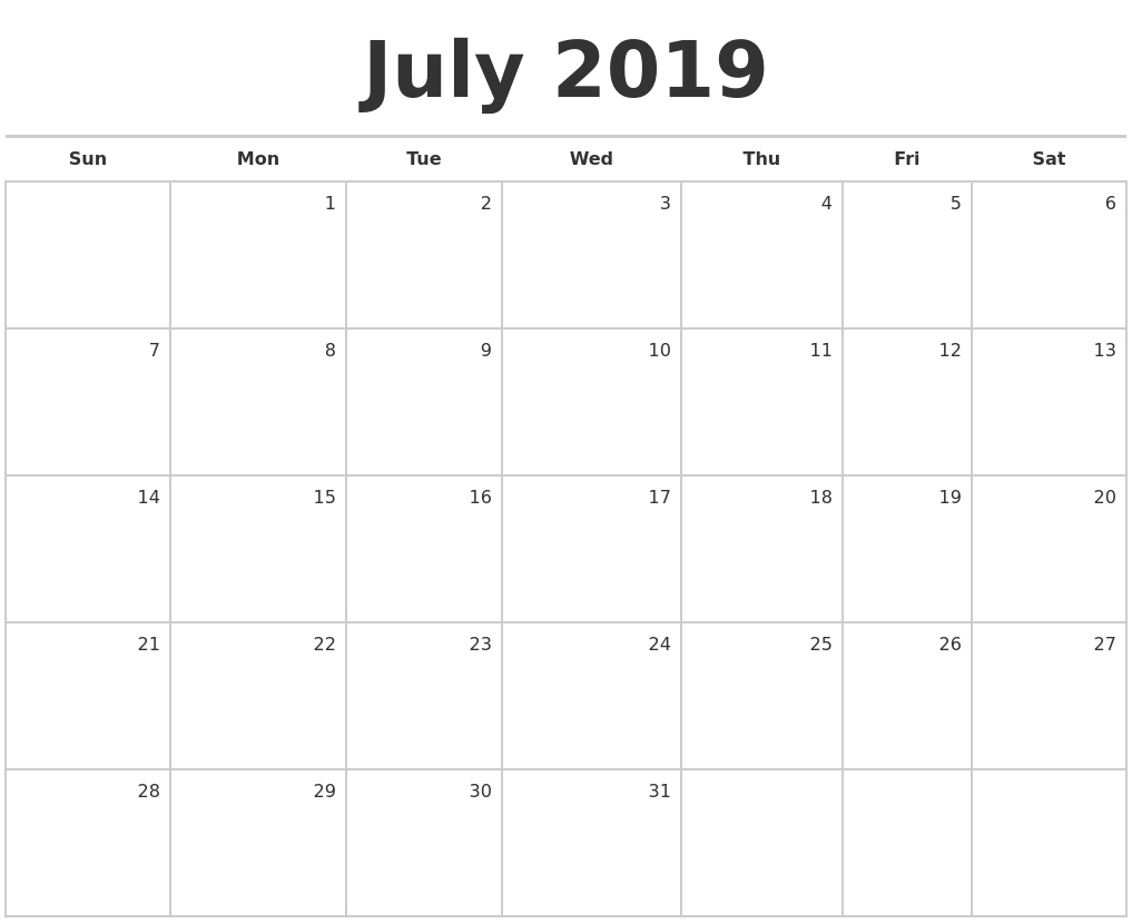 July 2019 Blank Monthly Calendar for Blank July Monthly Calendar