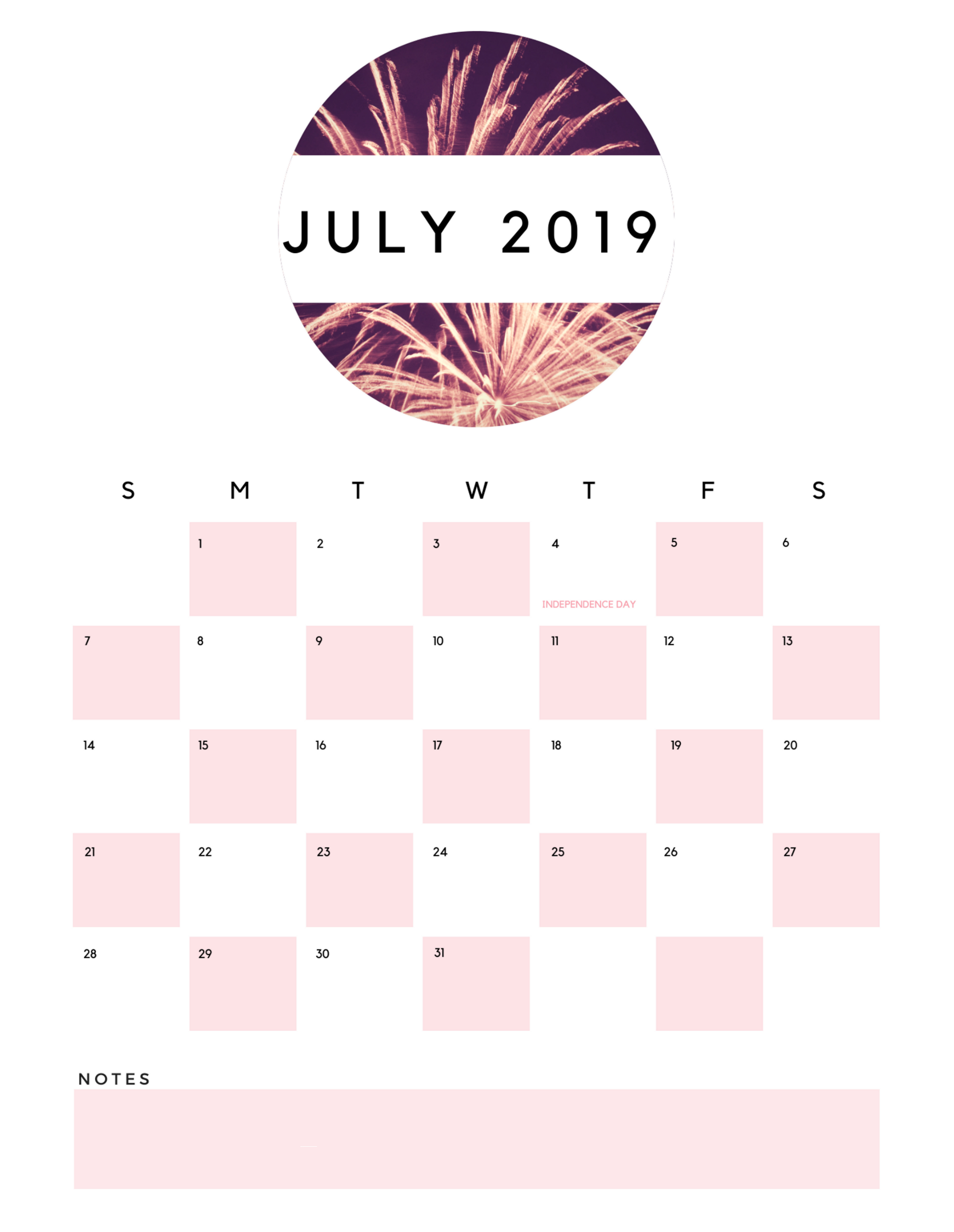 July 2019 Calendar | Calendar 2019 in Cute July Calendar Template