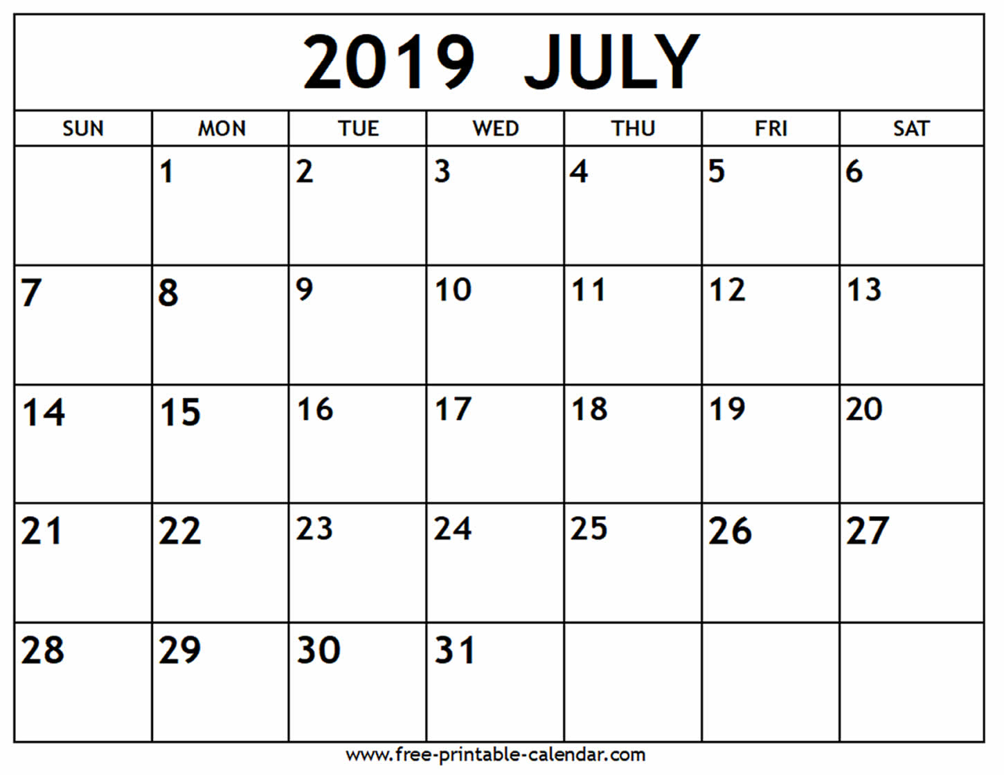 July 2019 Calendar - Free-Printable-Calendar with Blank July Monthly Calendar