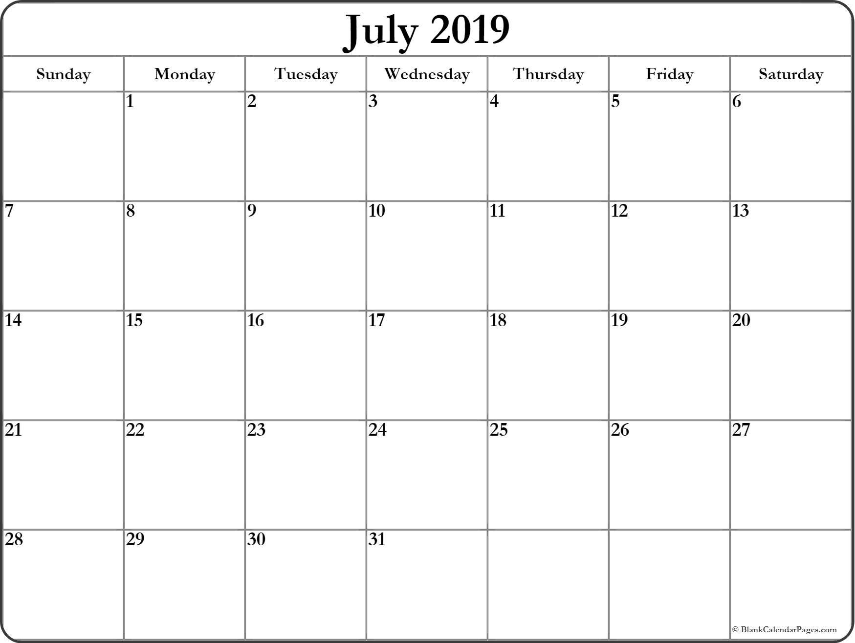 July 2019 Calendar | Free Printable Monthly Calendars pertaining to 1 Month Calendar Printable Blank