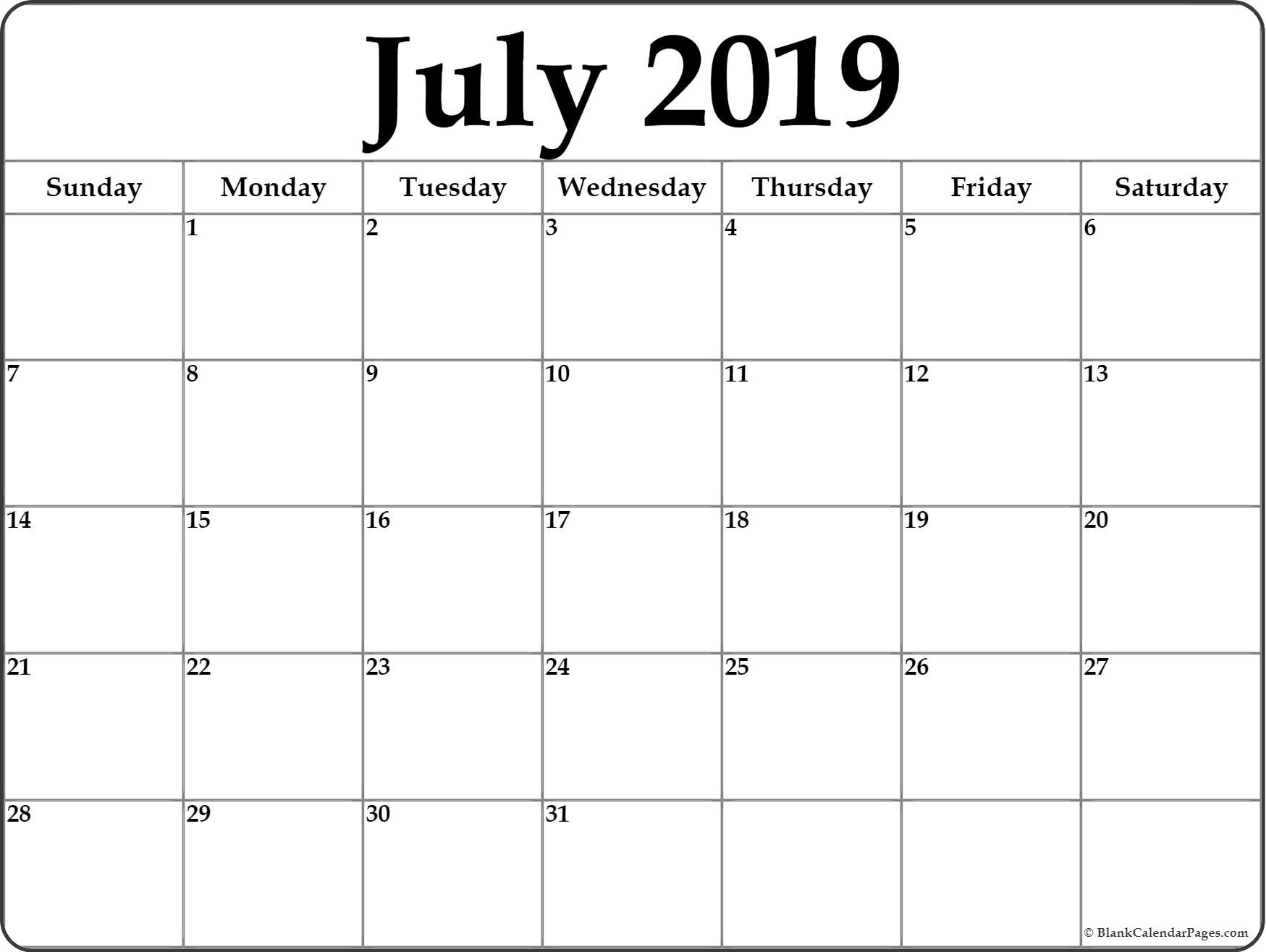 July 2019 Calendar | Free Printable Monthly Calendars pertaining to Cute Blank Monthly Calendar Template