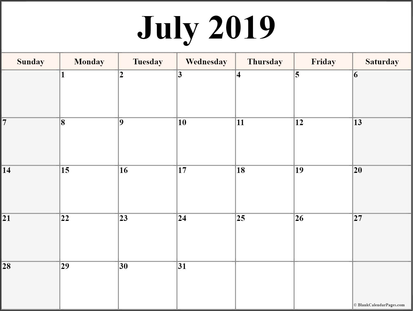July 2019 Calendar | Free Printable Monthly Calendars throughout Full Sheet November Calendar Template