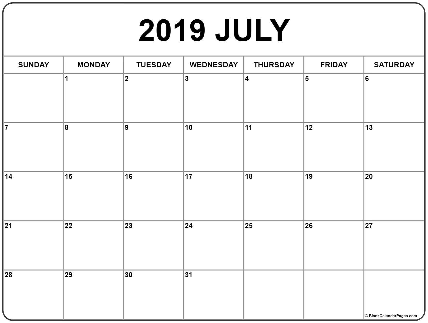 July 2019 Calendar | Free Printable Monthly Calendars with regard to Blanket Calender Printables For December