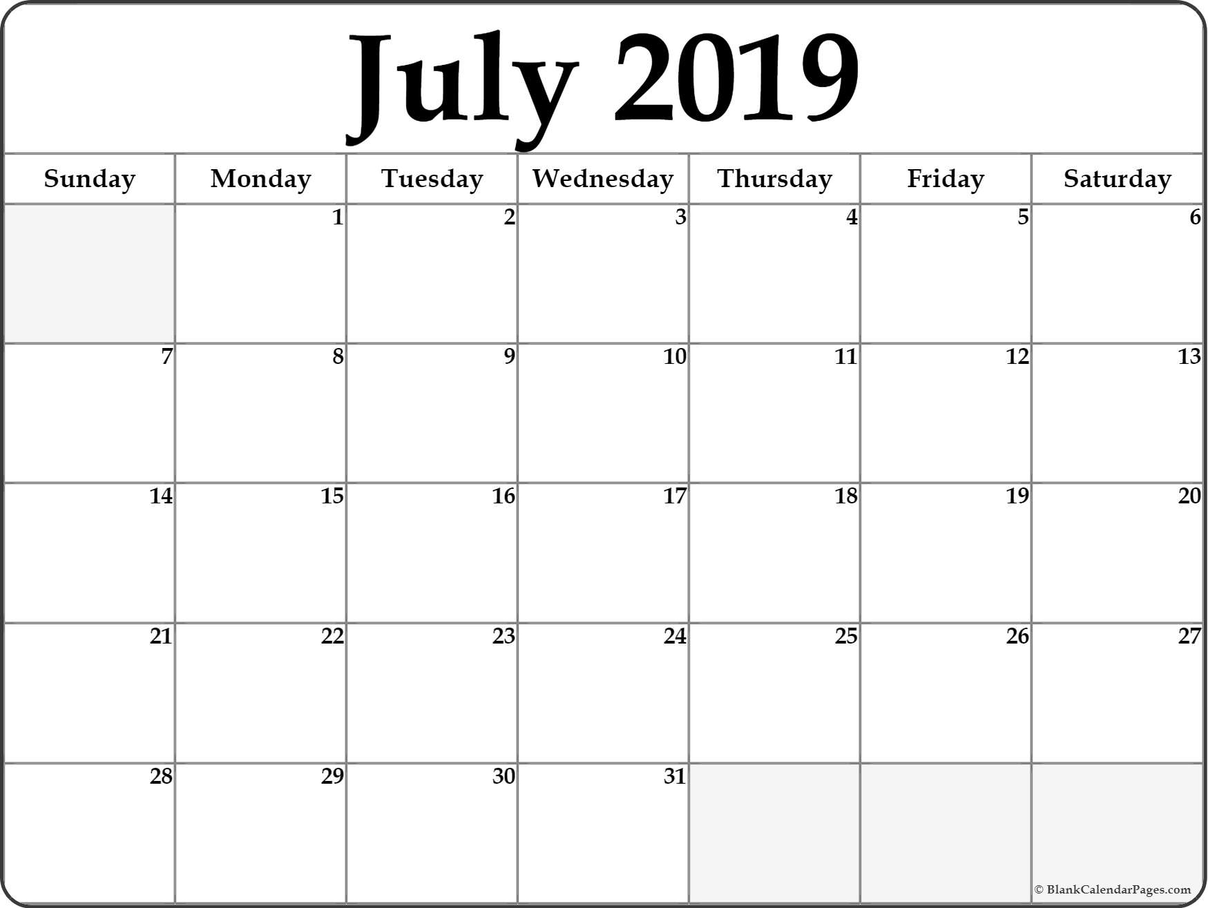 July 2019 Calendar | Free Printable Monthly Calendars within Blank July Monthly Calendar