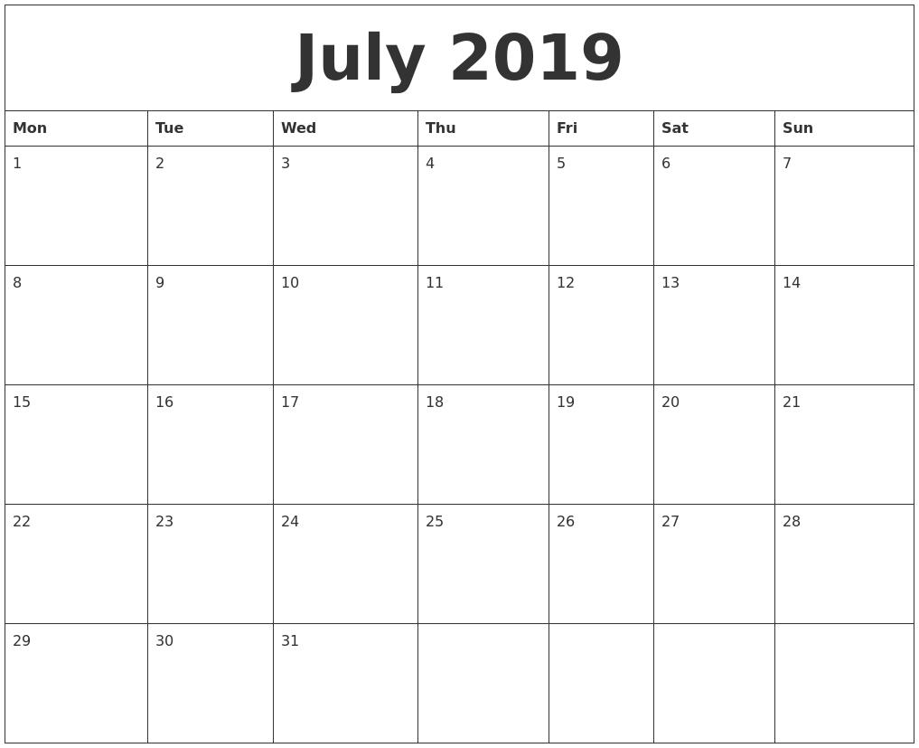 July 2019 Calendar intended for Free Calendar July 2019-June 2020