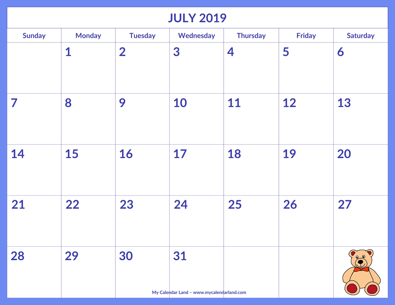 July 2019 Calendar - My Calendar Land intended for Cute Calendar Templates July