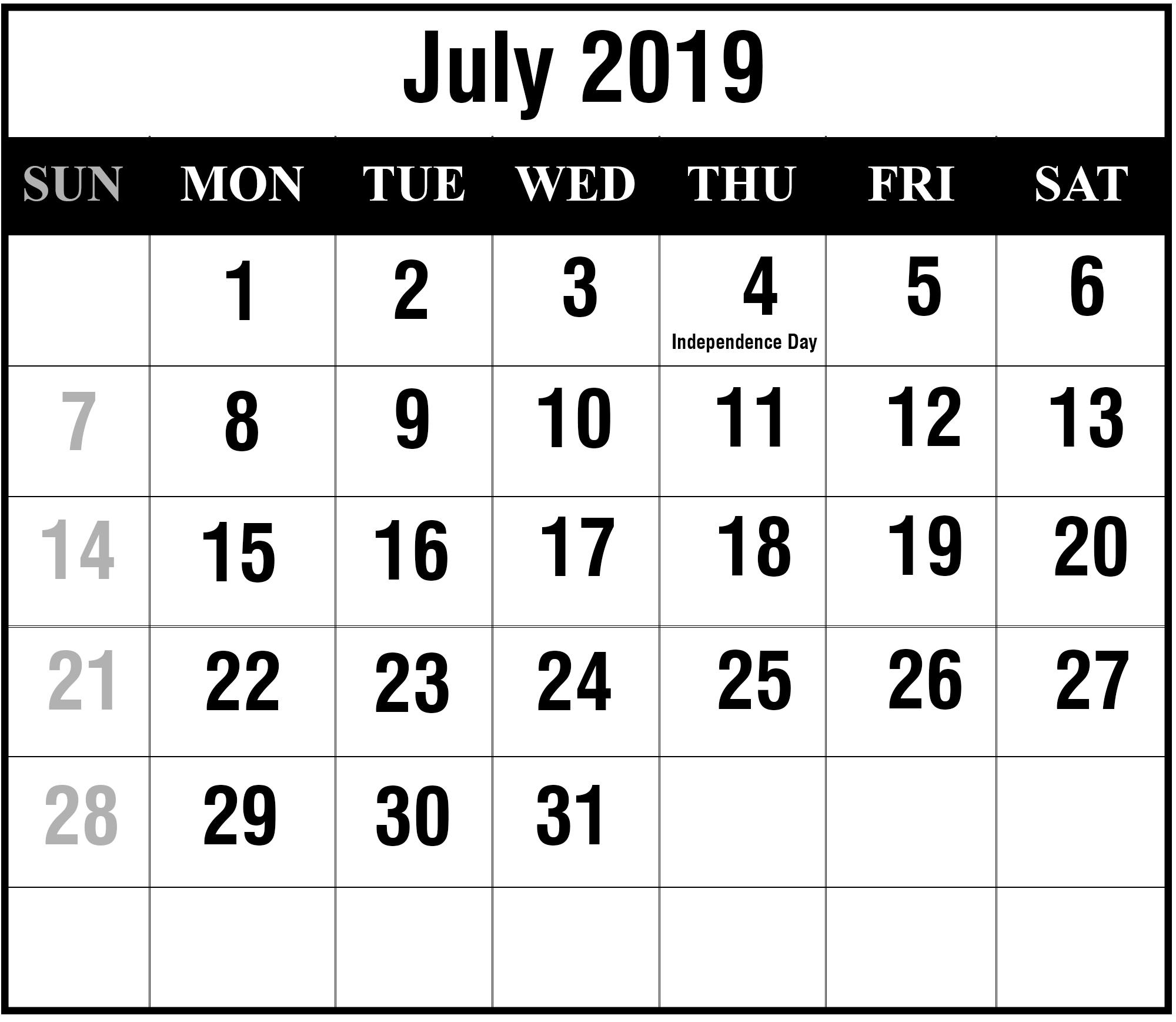 July 2019 Calendar Printable | July Blank Calendar Template pertaining to July Calendar Printable Template