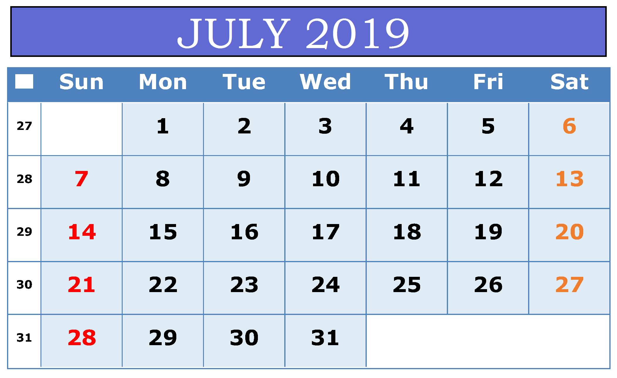 July 2019 Calendar Template Word Document with regard to Cute July Calendar Template