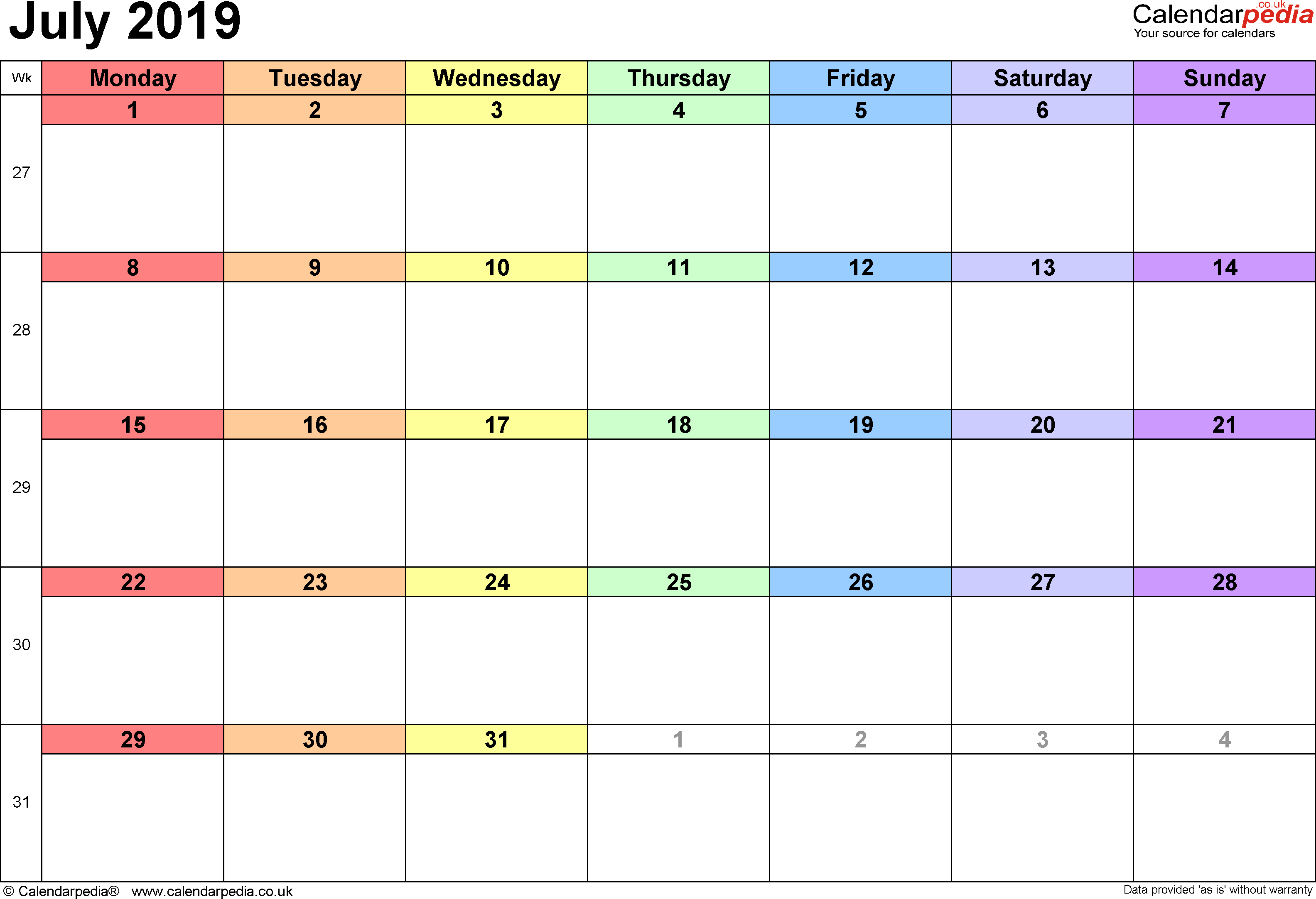 July 2019 Calendar Templates Download Free!! - Templates Study with regard to Printable July Employee Template