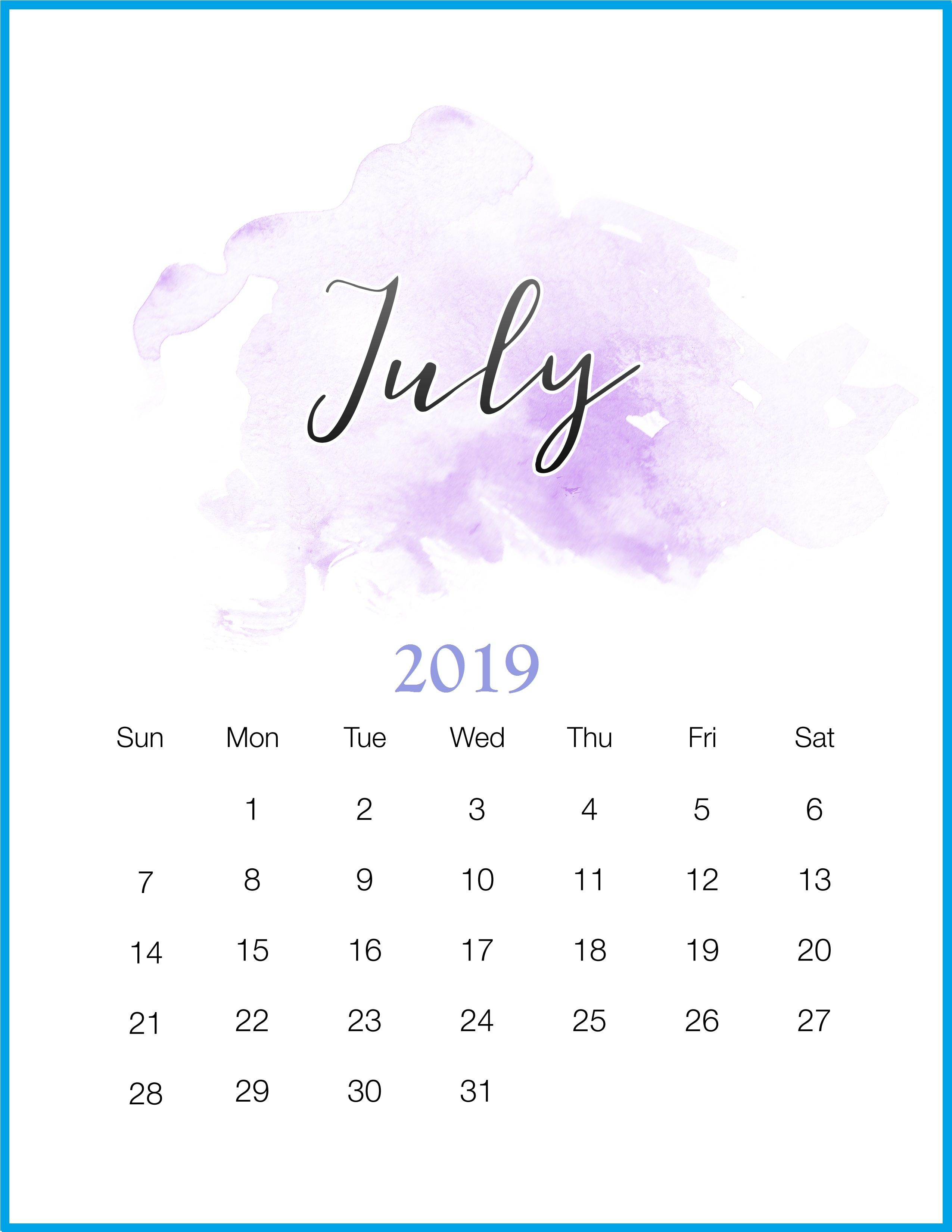 July 2019 Calendar Wallpapers - Wallpaper Cave pertaining to Cute July Calendar Template