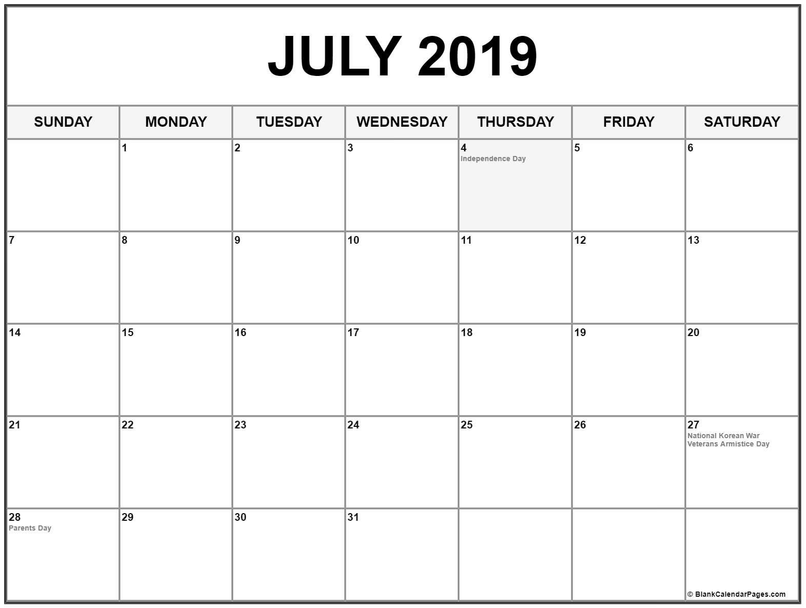 July 2019 Calendar With Holidays #july #july2019 #julycalendar2019 with Blank Calendar Print-Outs Fill In With Holidays