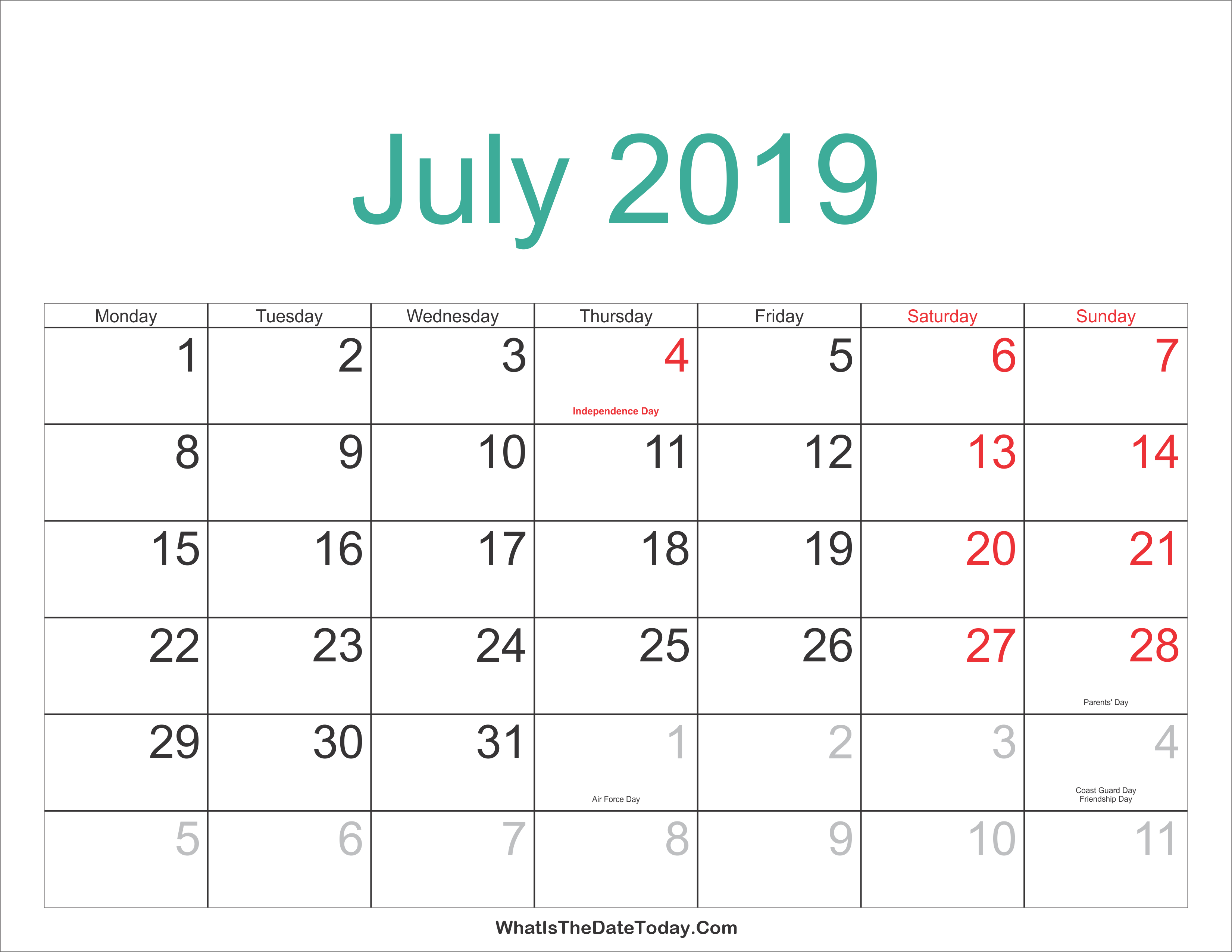 July 2019 Calendar With Holidays Printable, July 2019 Holidays with regard to Editable October 2019 Calendar With Religious Holidays