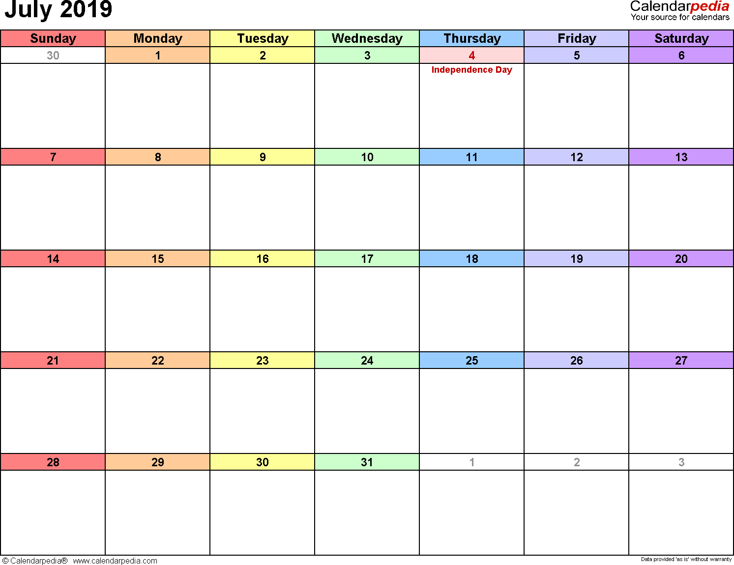 July 2019 Calendars For Word, Excel & Pdf within Blank July Monthly Calendar