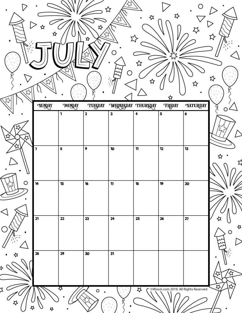 July 2019 Coloring Calendar | Coloring Page | Calendar 2019 regarding Coloring Pages October Calendar 2019 Adults
