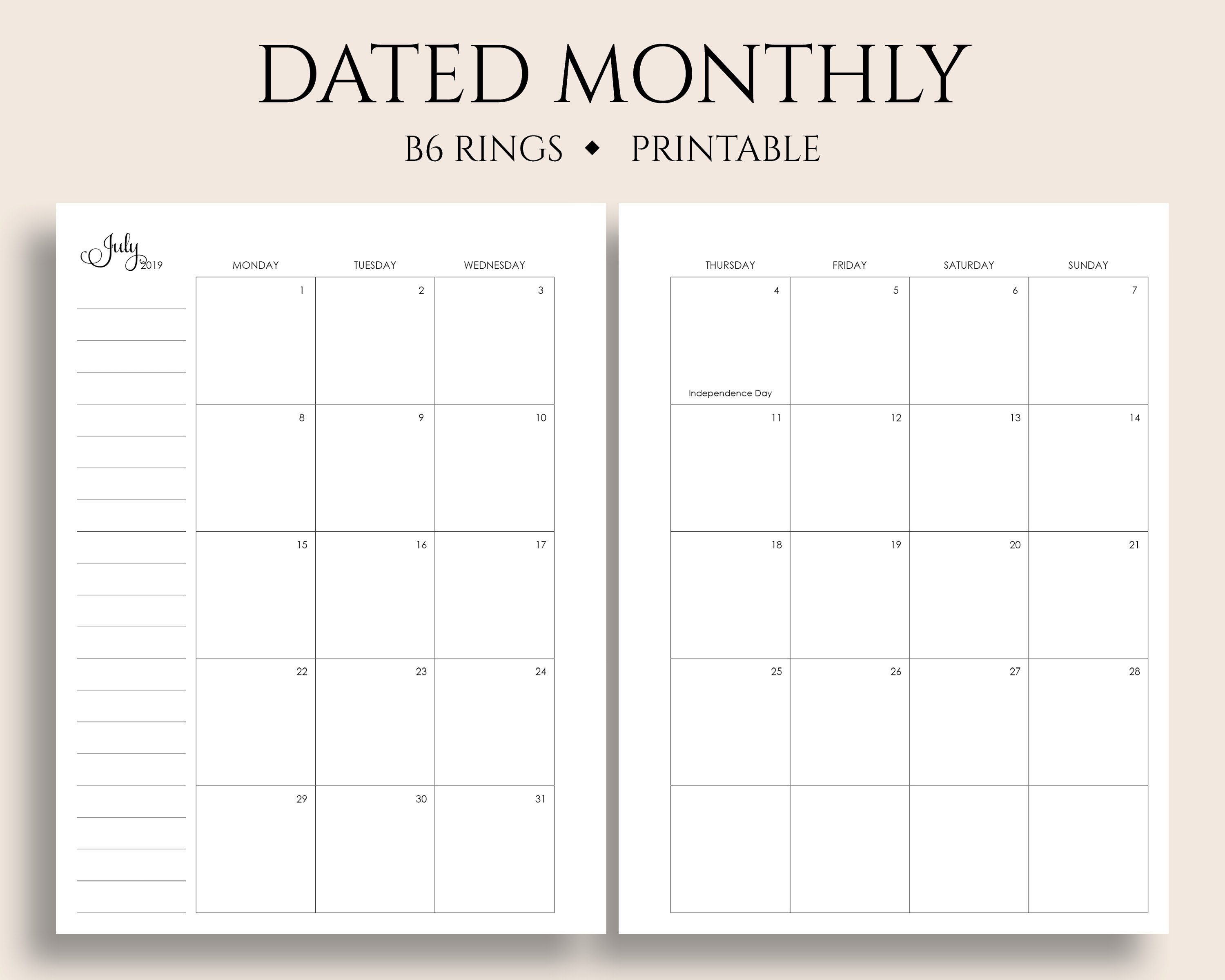 "July 2019 - Dec 2020 Dated Monthly Calendar Printable Planner Inserts,  Monday Start, Mo2P, Us Holidays ~ B6 Rings 5.3"" X 7"" Pdf Download inside 8.5 X 11 Calander Filler For 2020"