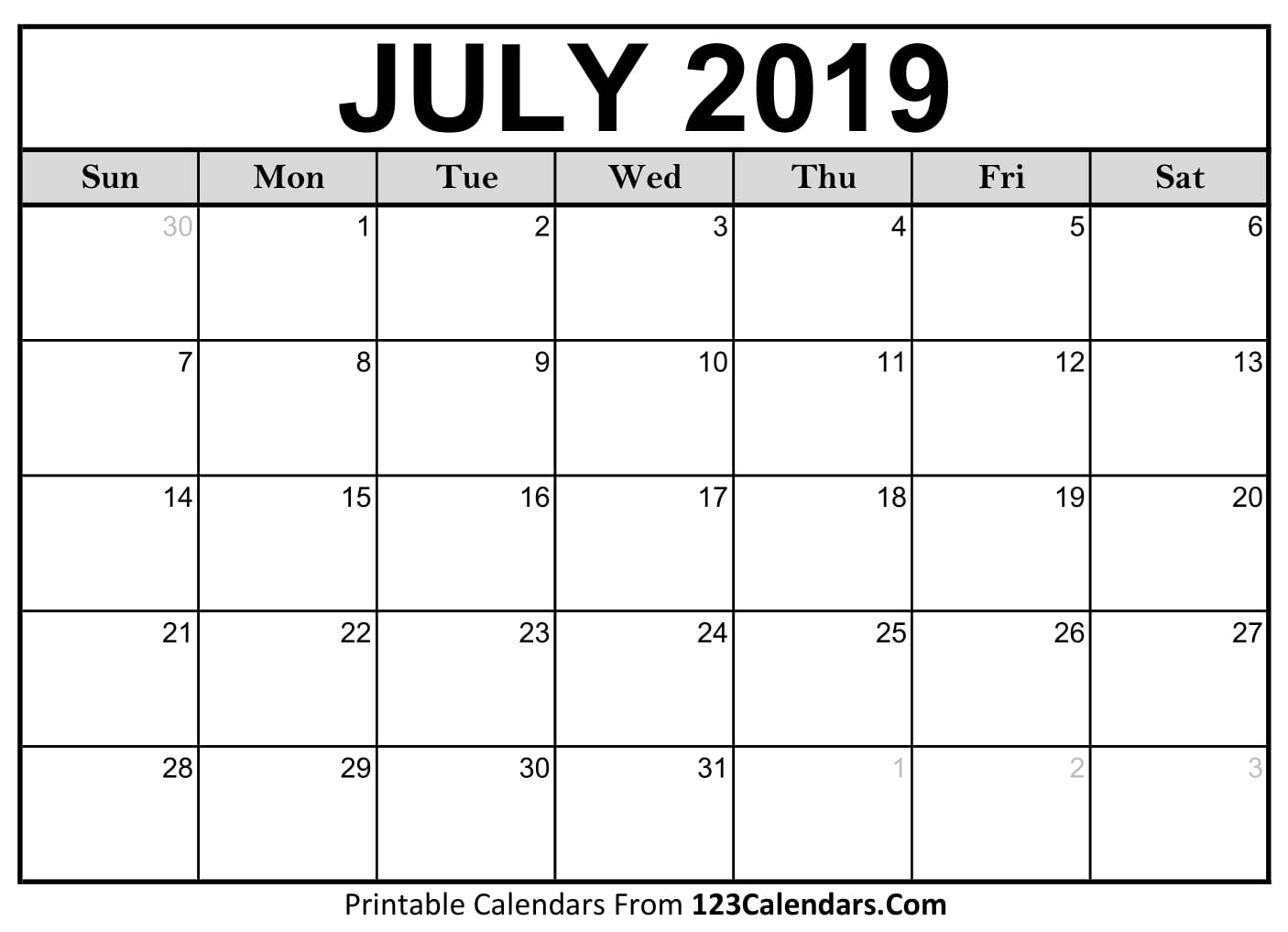 July 2019 Printable Calendar | 123Calendars with Blank July Monthly Calendar