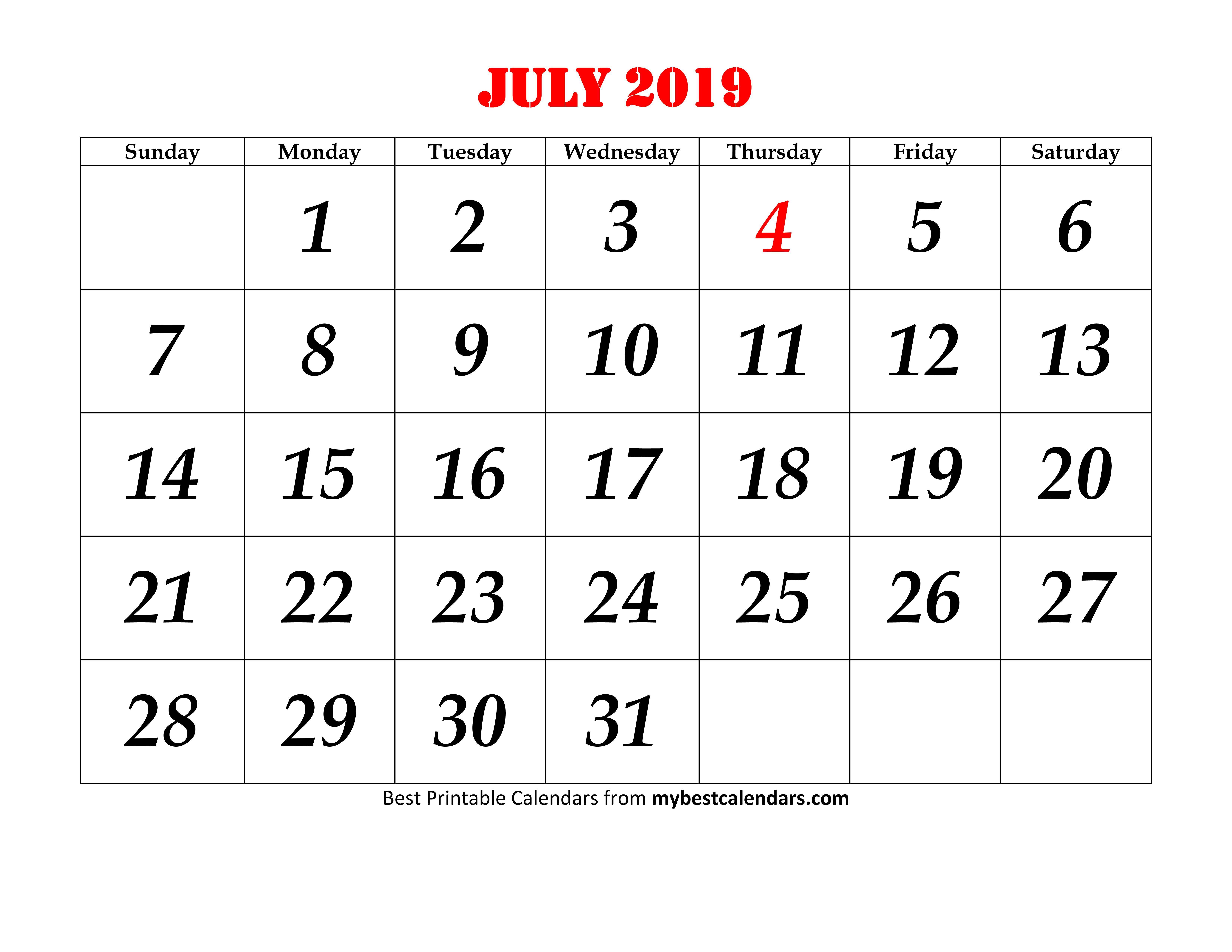 July 2019 Printable Calendar Blank Templates - Calendar Hour - 2019 in July Calendar Printable Template