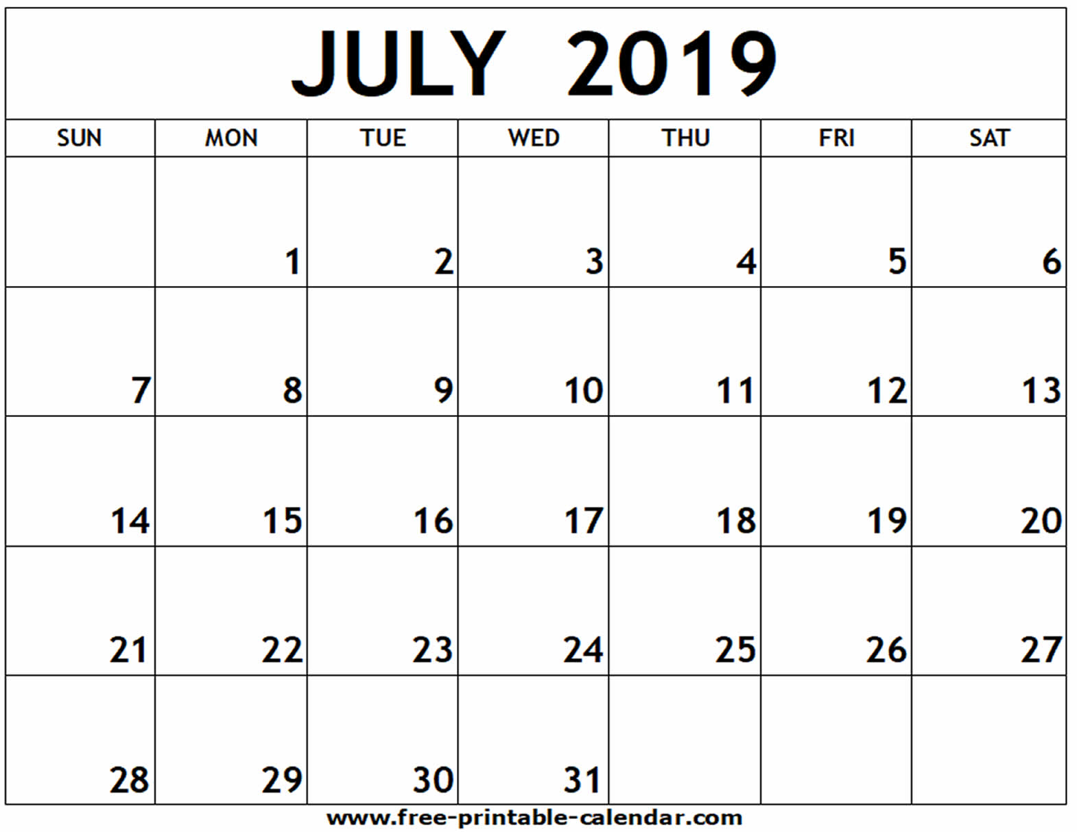 July 2019 Printable Calendar - Free-Printable-Calendar with Fill In Blank Calendar