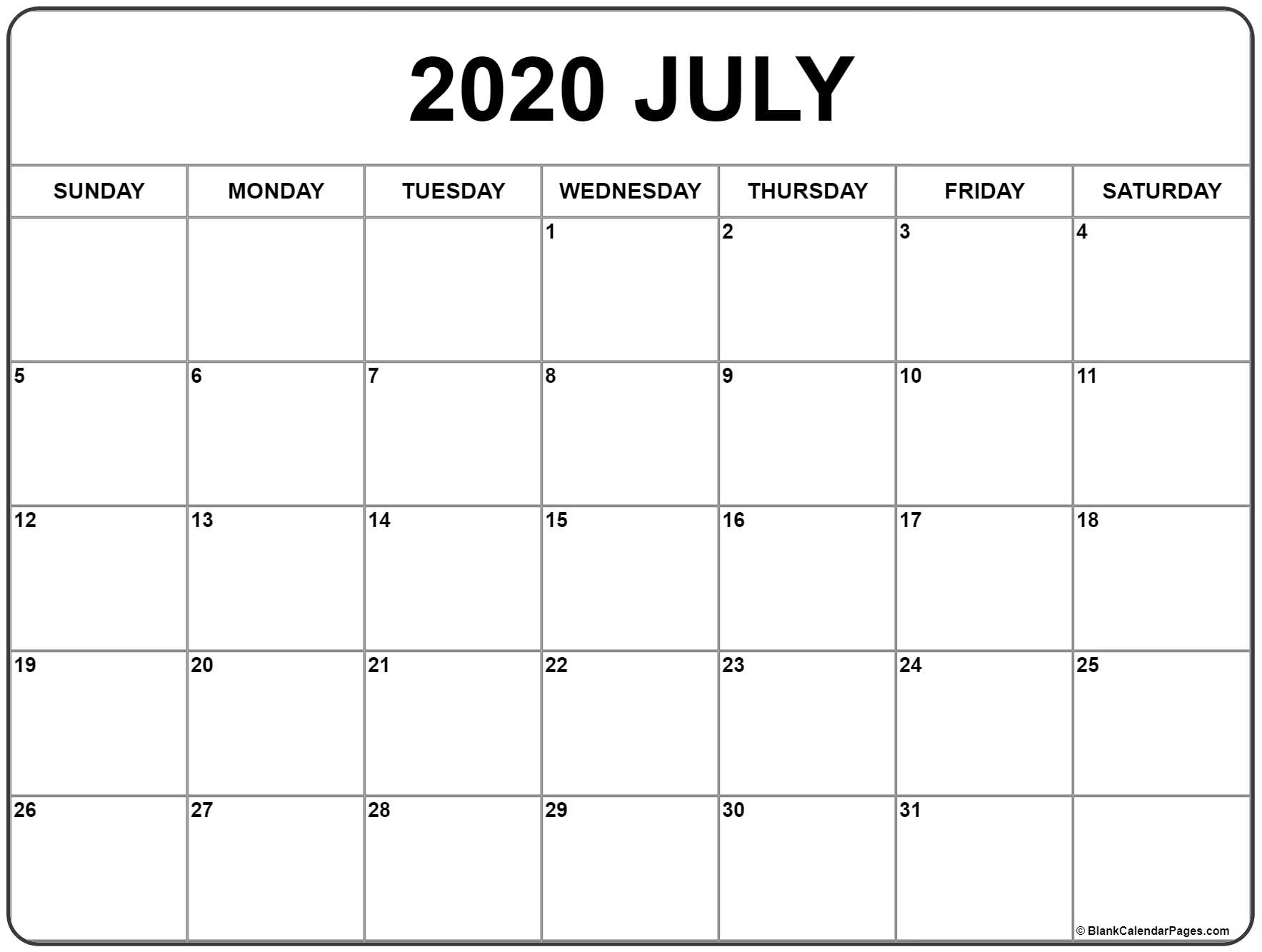 July 2020 Calendar | Free Printable Monthly Calendars intended for Printable 2020 Monthly Calendars Starting With Monday