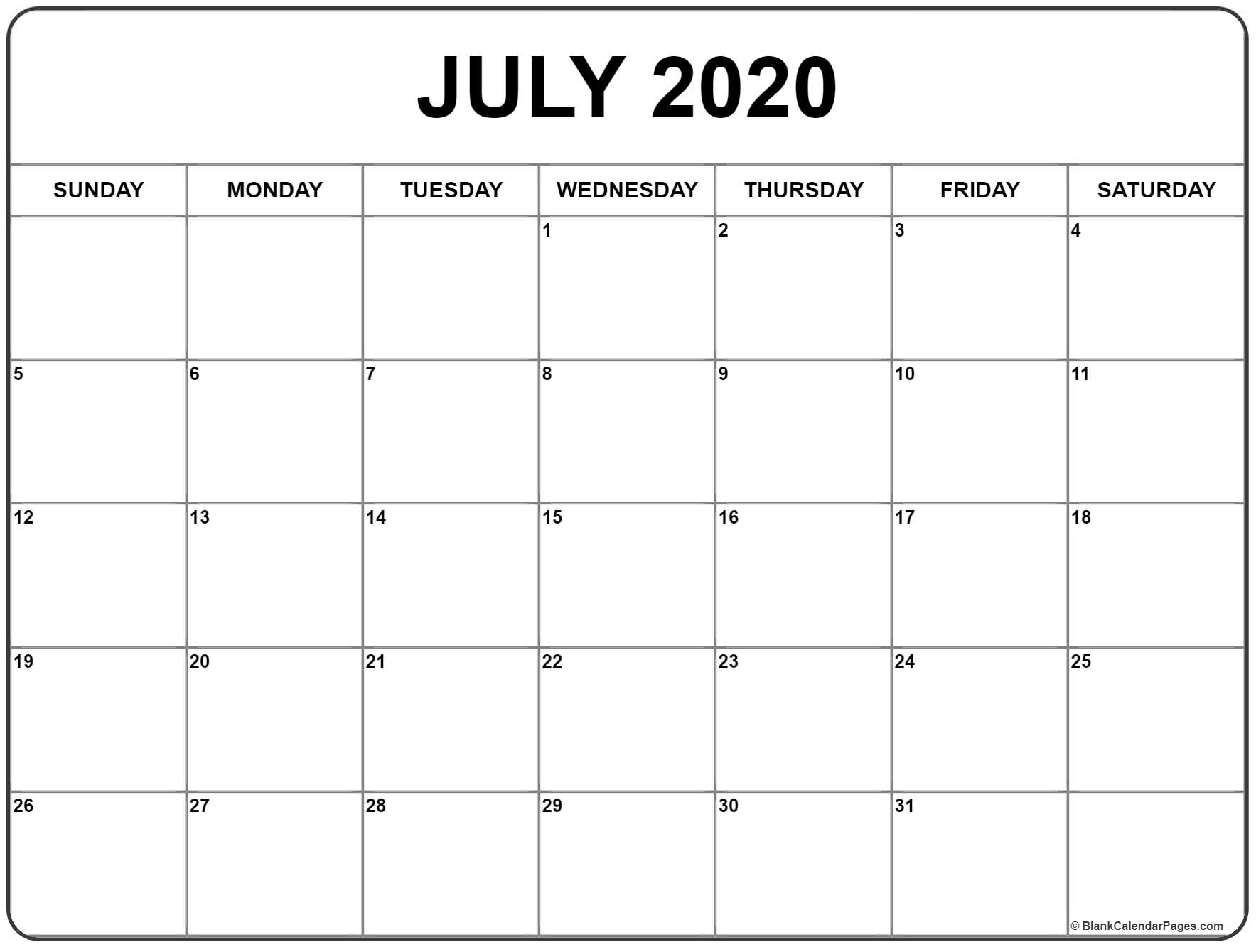 July 2020 Calendar | Free Printable Monthly Calendars throughout 2020 Free Printable Coloring Calendar