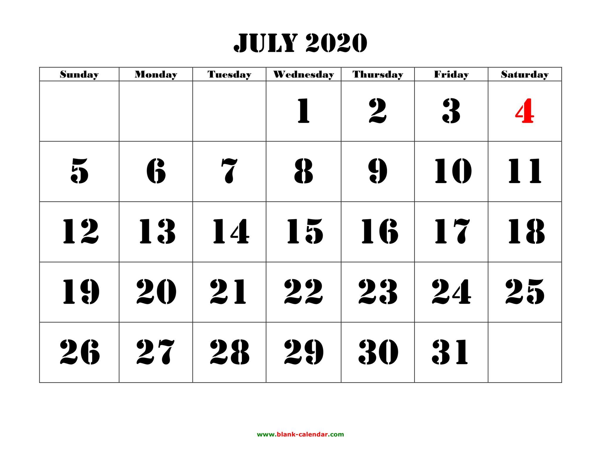 July 2020 Calendar Printable Templates Holidays - July 2020 Calendar regarding 2020 Vertex Calendars Printable Free