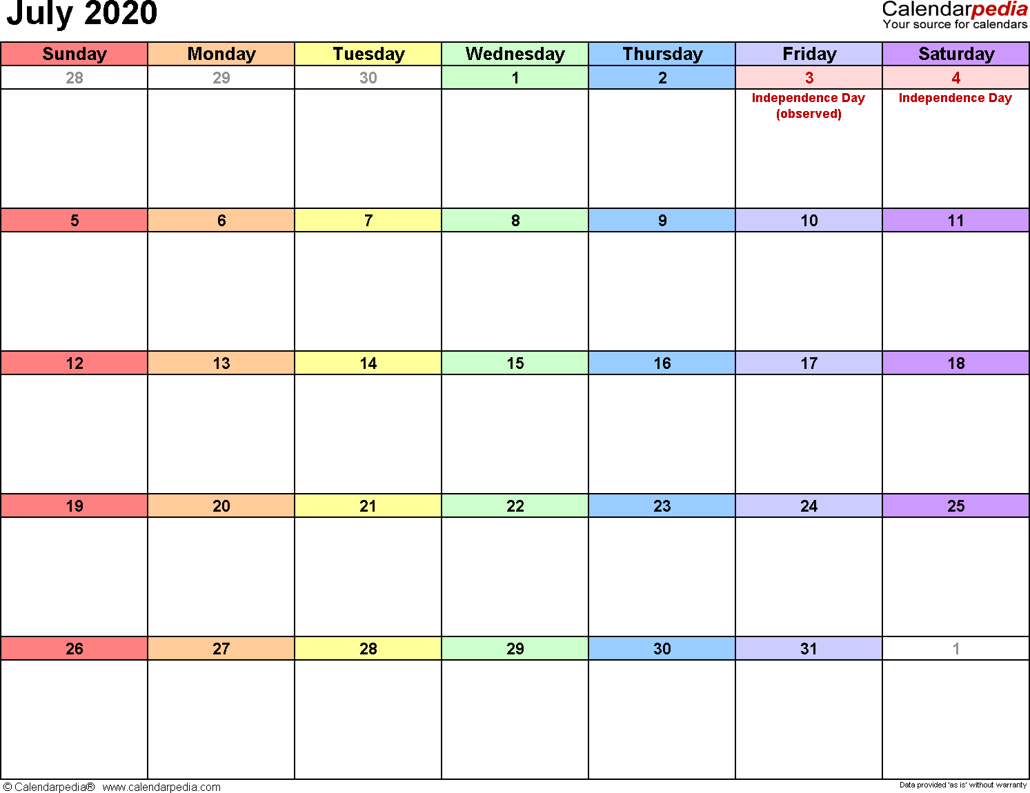 July 2020 Calendars For Word, Excel & Pdf with regard to 2020 Calendar I Can Edit