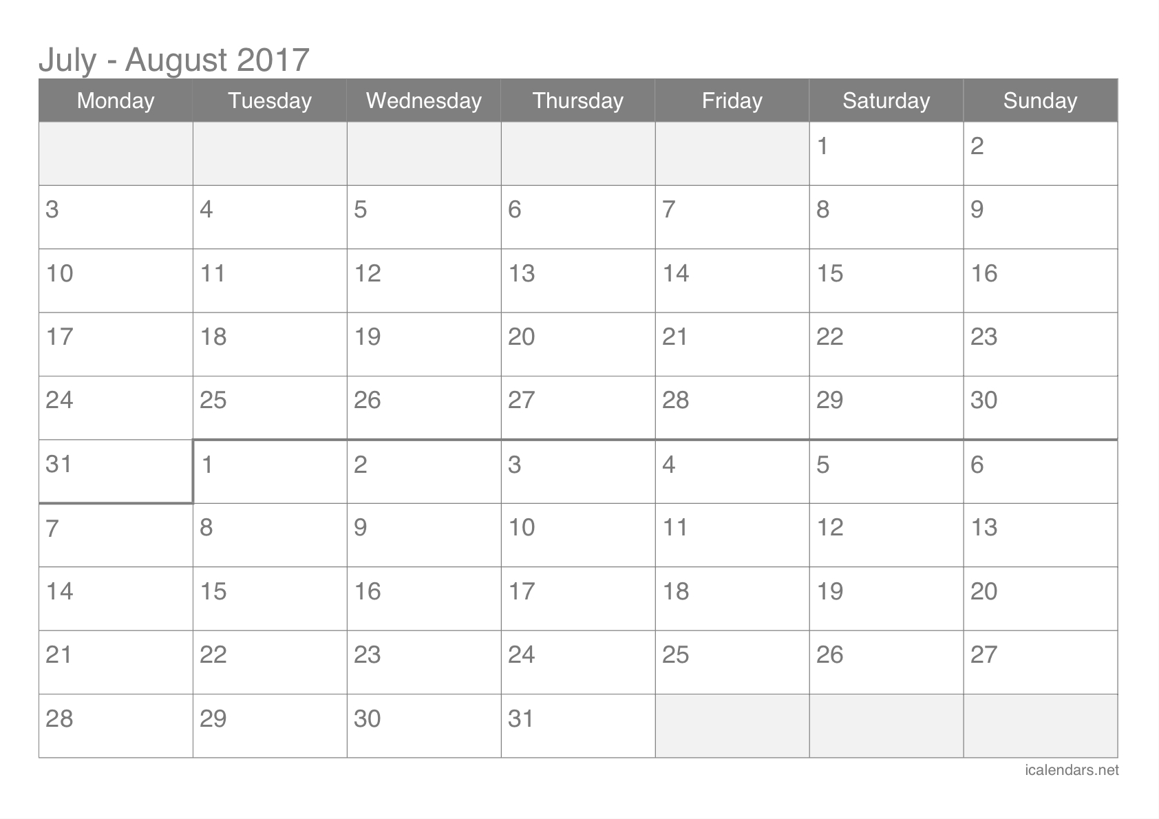 July And August 2017 Printable Calendar - Icalendars throughout Printable Blank Calendar July And August