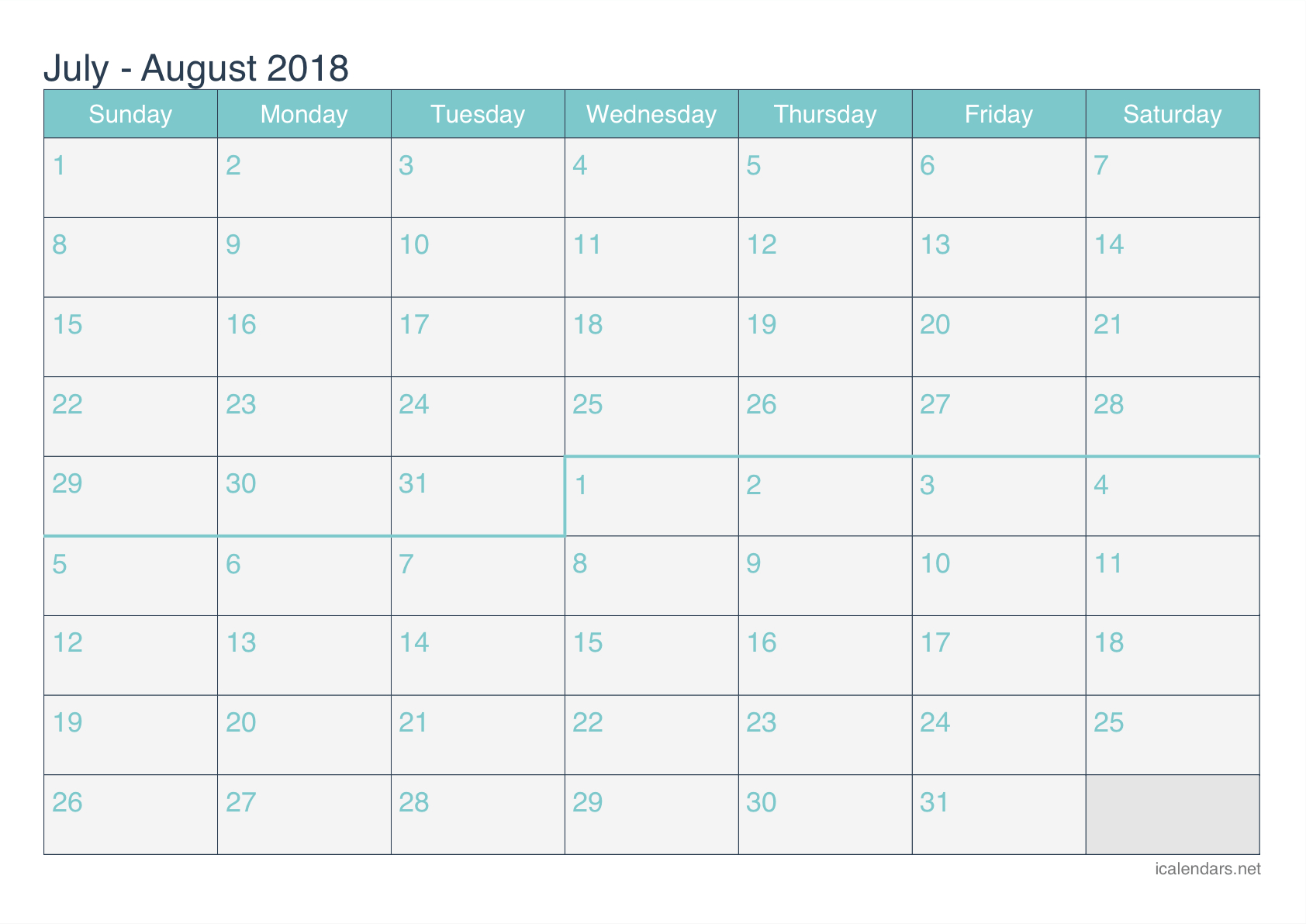 July And August 2018 Printable Calendar - Icalendars intended for Printable Blank Calendar July And August