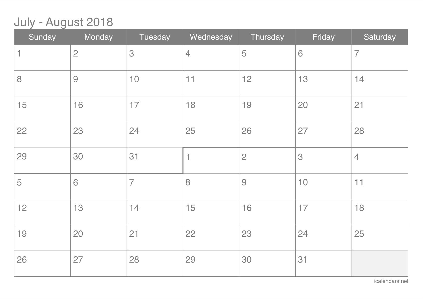 July And August 2018 Printable Calendar - Icalendars within Full Sheet November Calendar Template
