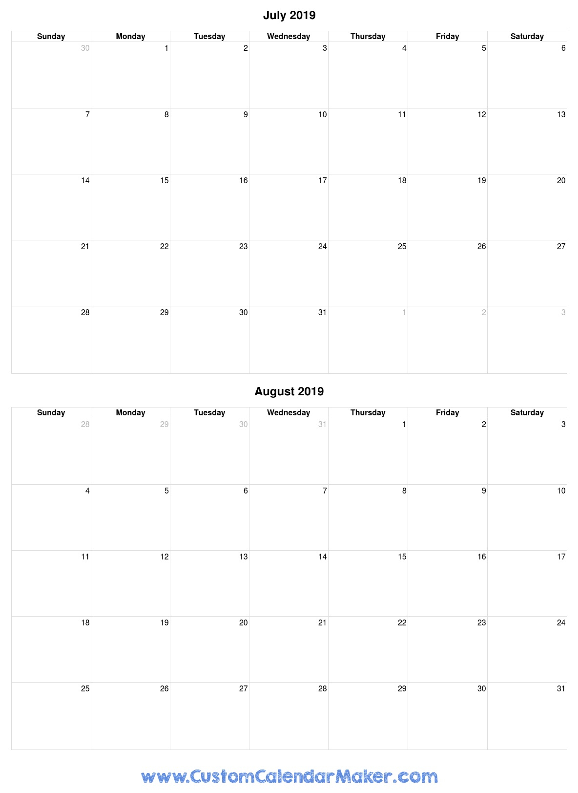 July And August 2019 Free Printable Calendar Template with regard to Printable Blank Calendar July And August