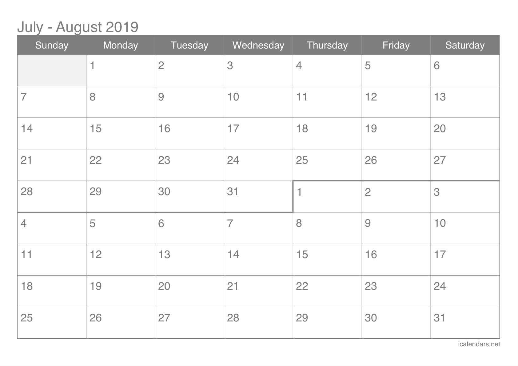 July And August 2019 Printable Calendar - Icalendars inside Blank Calendar June July August
