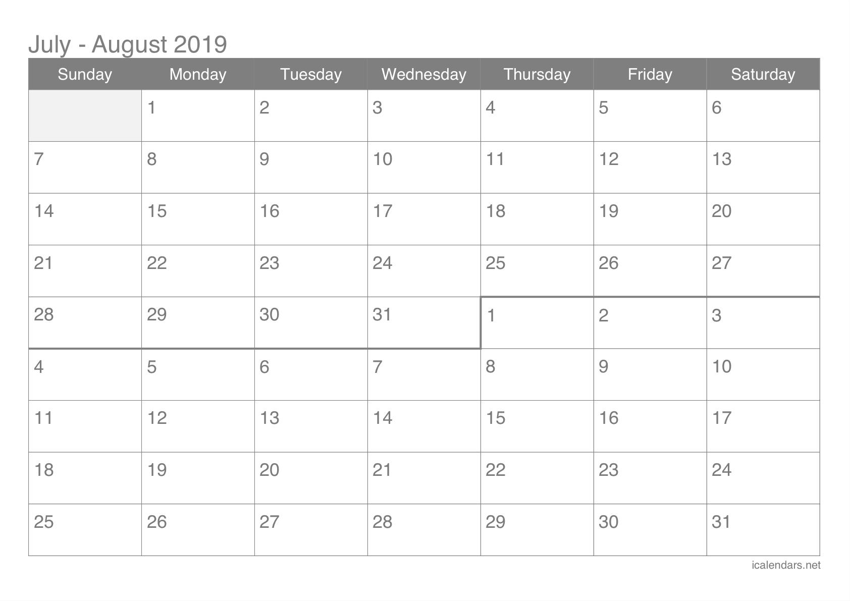 July And August 2019 Printable Calendar - Icalendars inside Blank Calendar June July